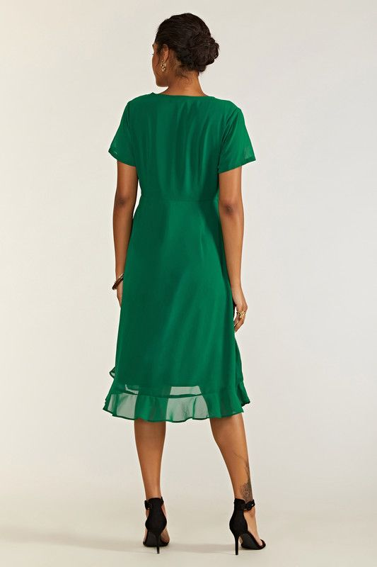Green Frill Wrap Dress With Tassel Detail