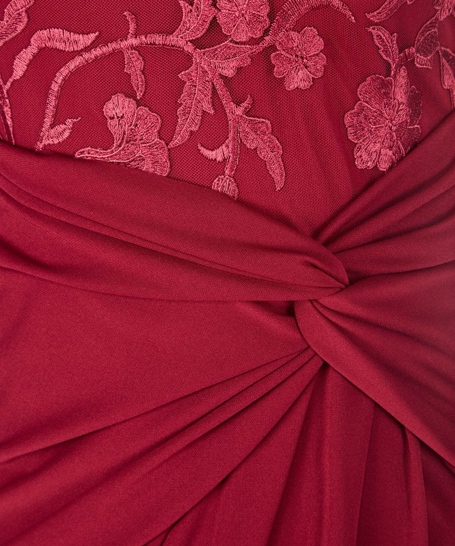 Red embroidered bodice maxi dress
