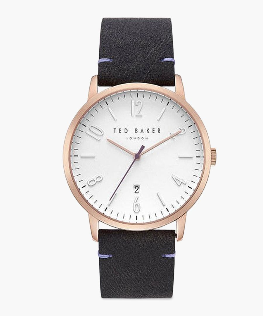 Daniel black leather and stainless steel watch