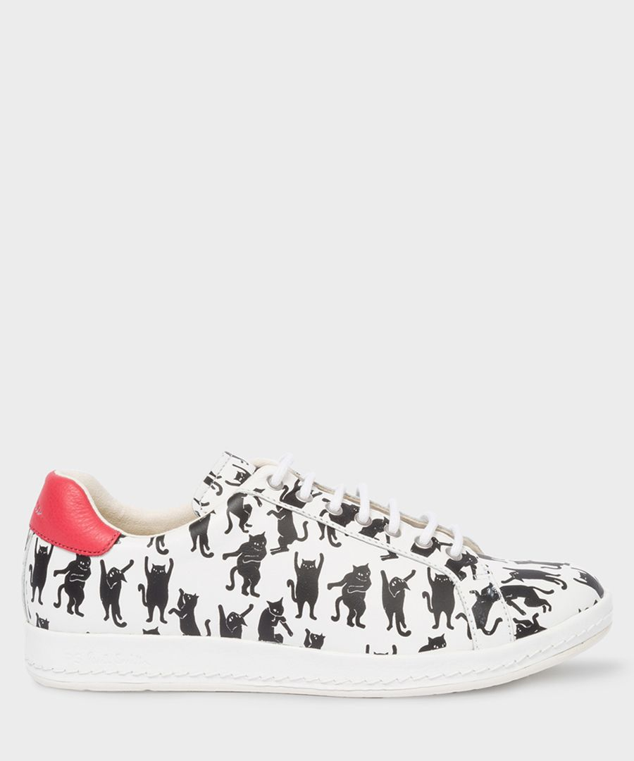 White leather cat printed sneakers