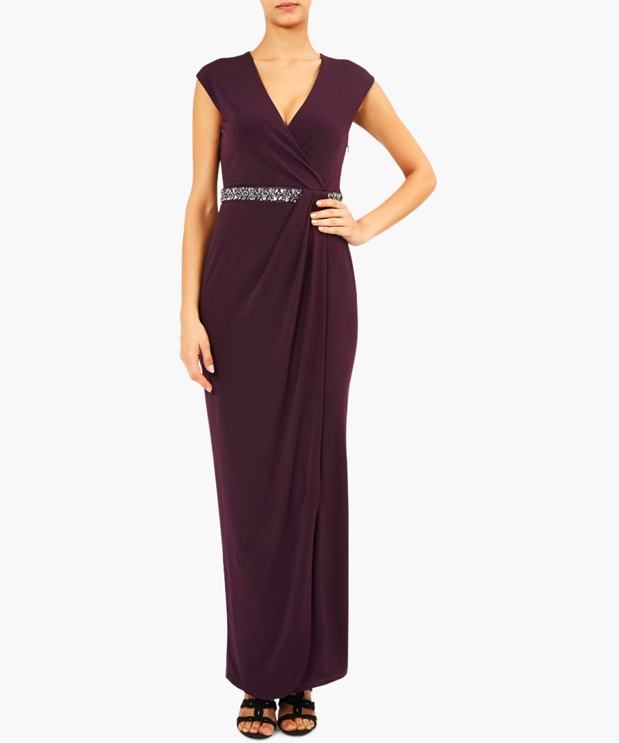 Adrianna purple V-neck maxi dress