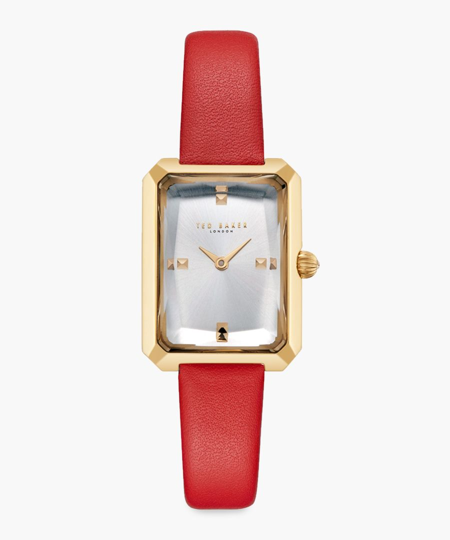 Cara red leather and stainless steel watch