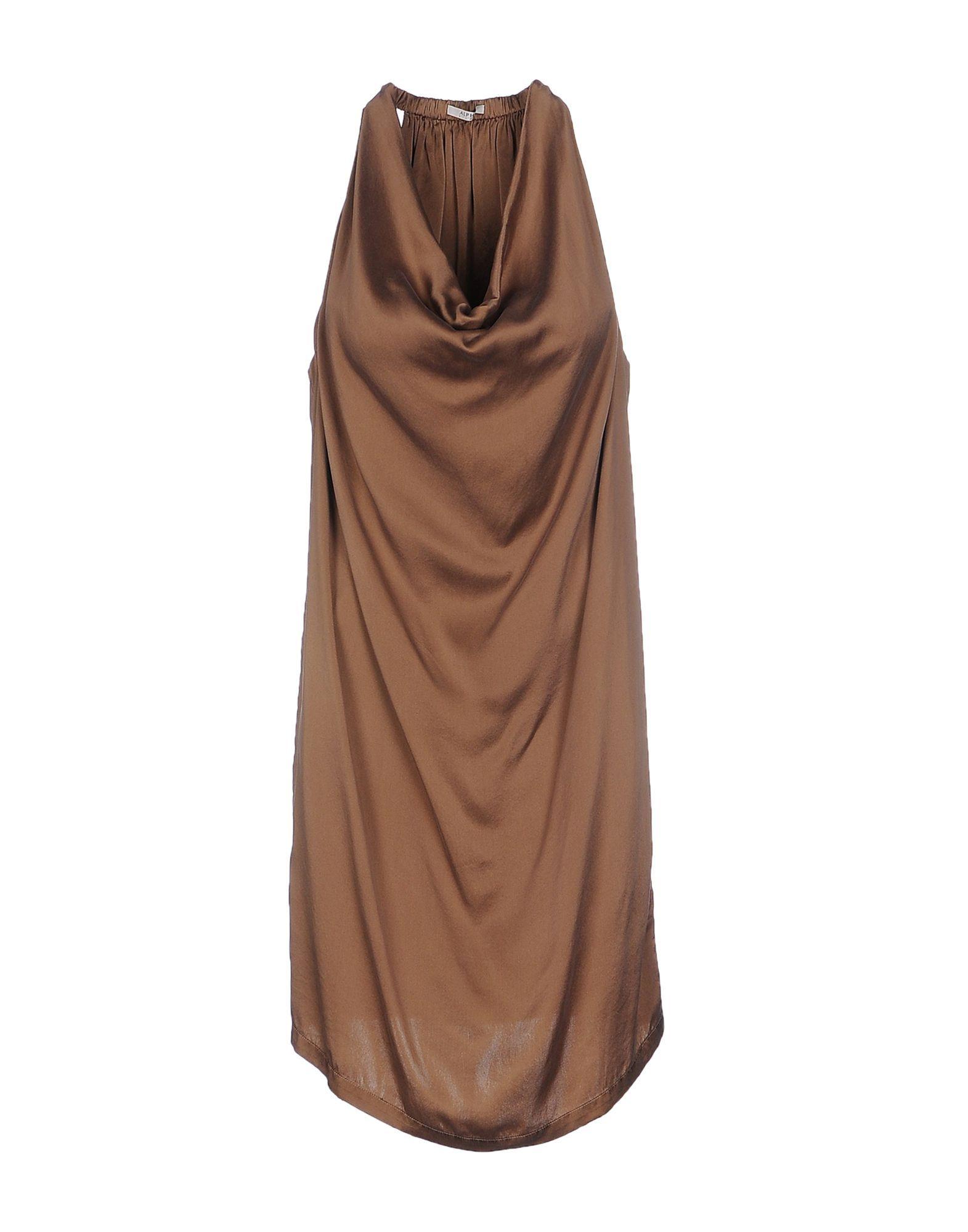 Alpha Studio Camel Silk Draped Dress