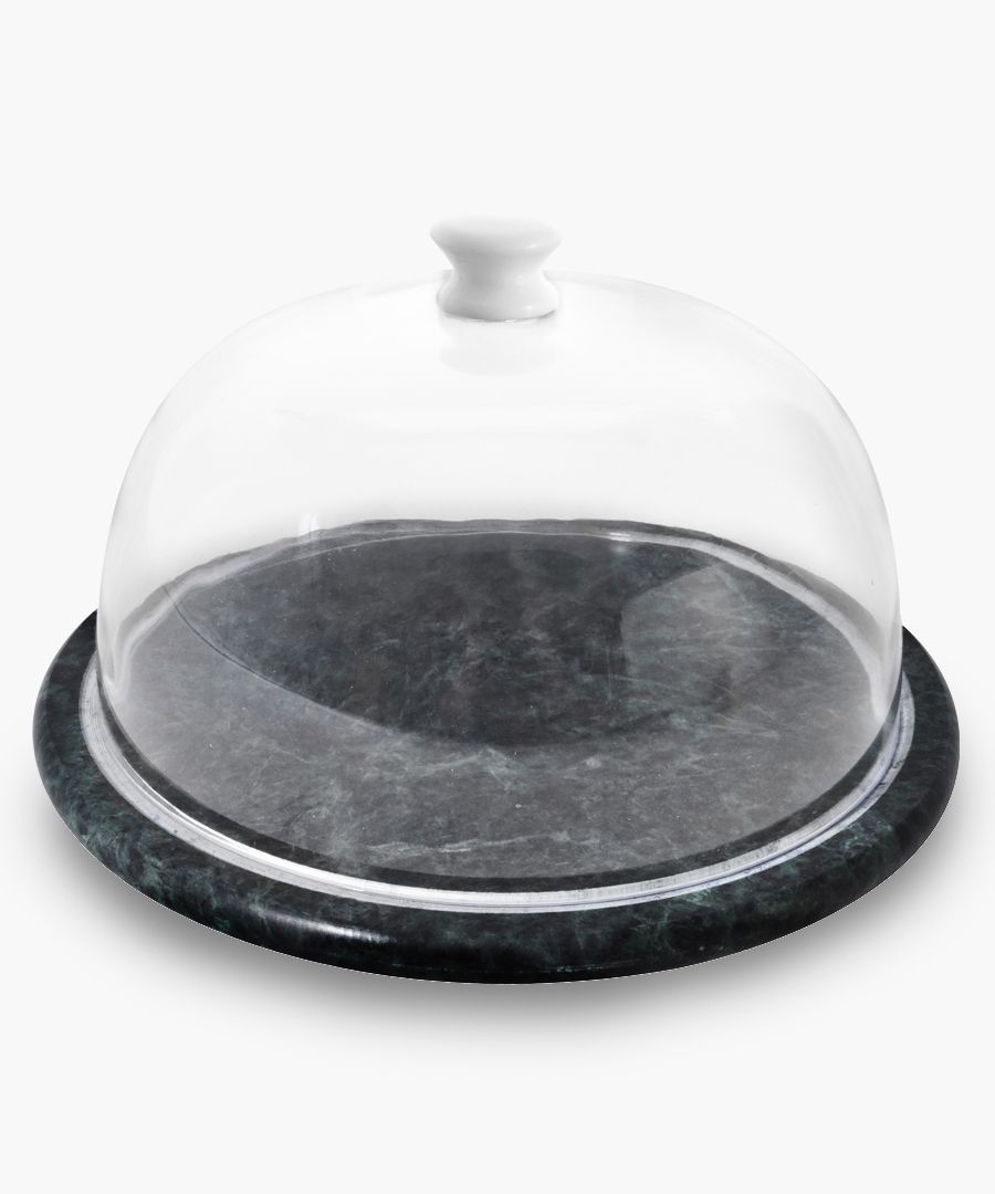 2pc Green marble cheese board & dome