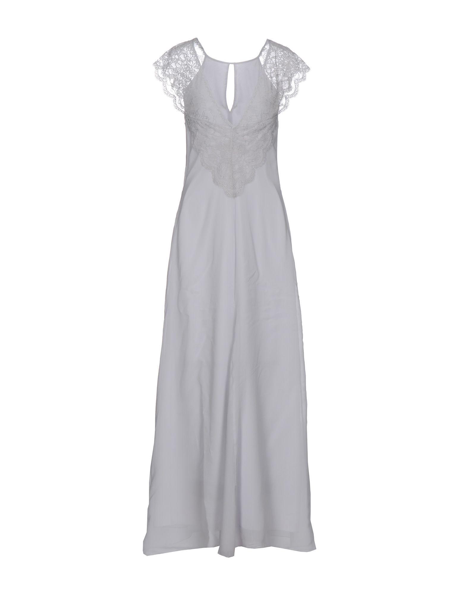 Patrizia Pepe Sera Light Grey Silk Full Length Dress With Lace Detail