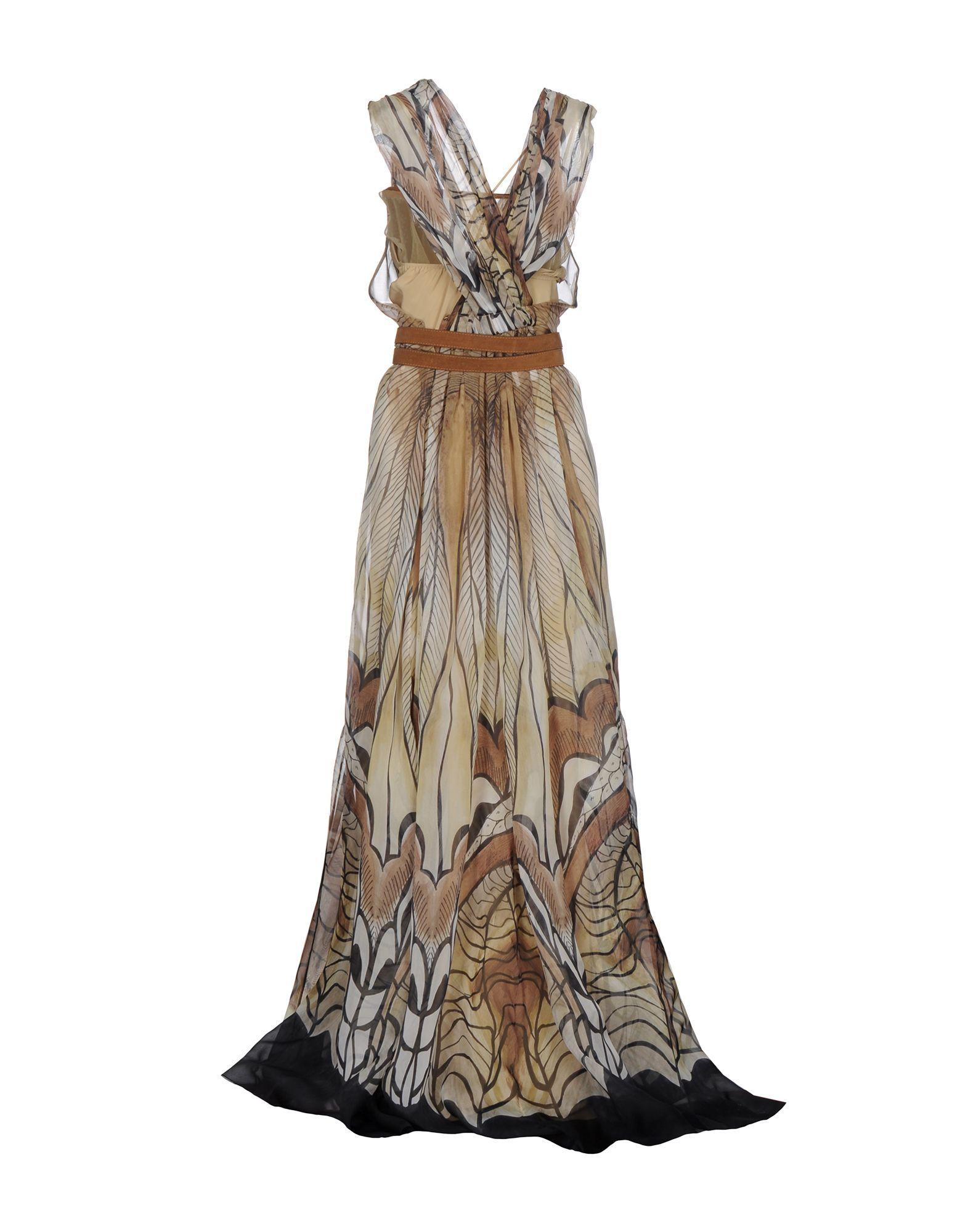 Alberta Ferretti Beige Print Silk Full Length Dress