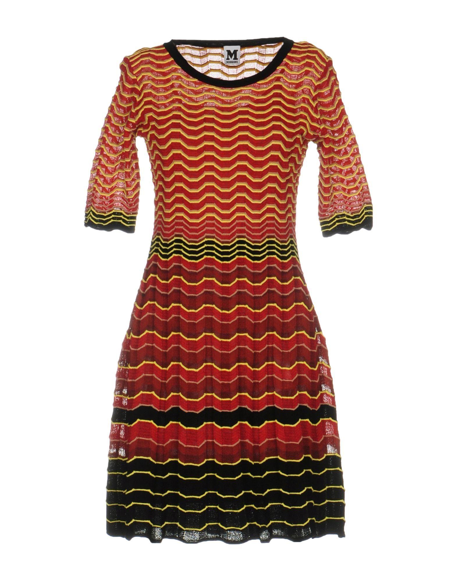 M Missoni Red Stripe Knit Dress