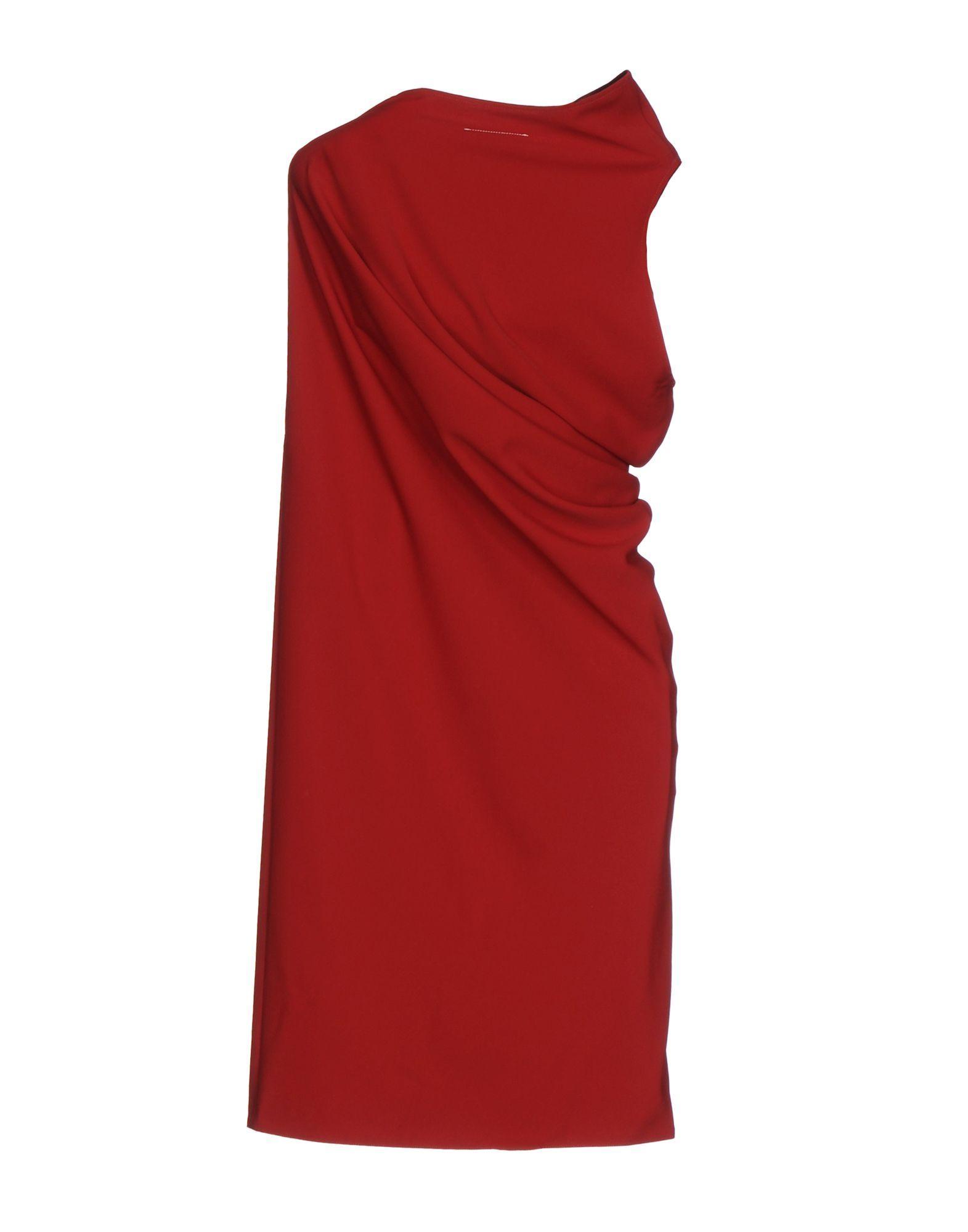 MM6 Maison Margiela Brick Red Draped Sleeveless Dress