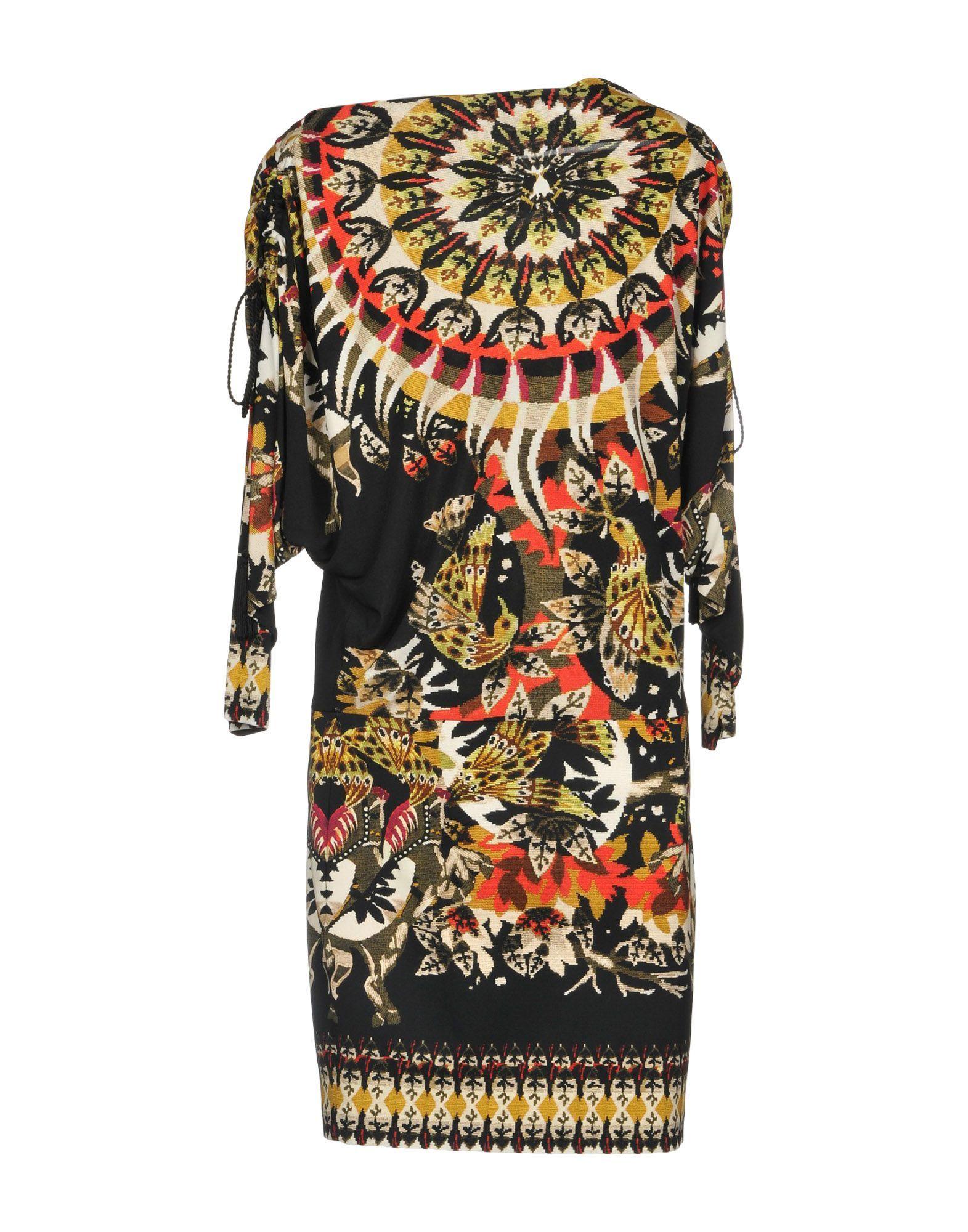 Roberto Cavalli Black Print Long Sleeve Dress