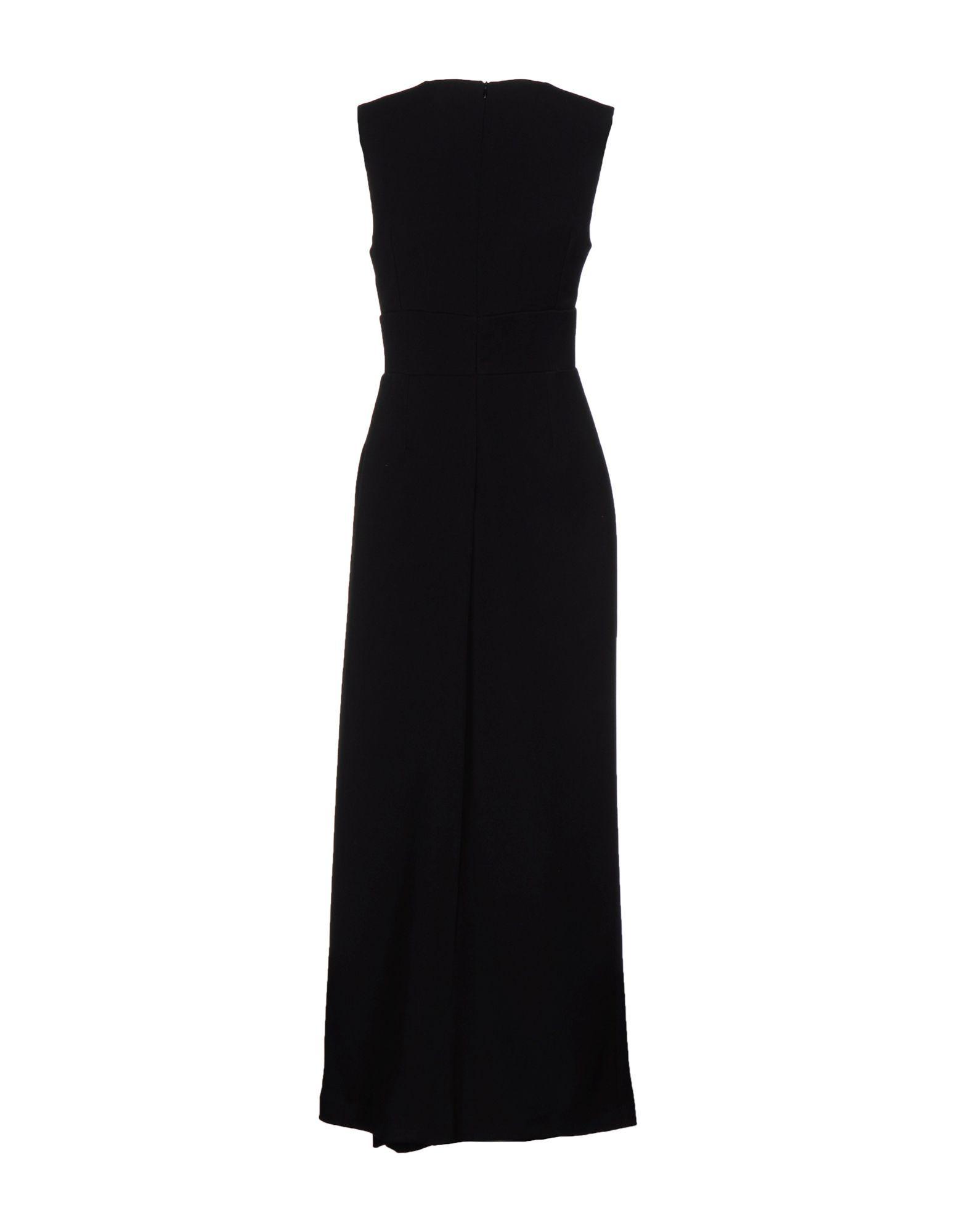 Black wool blend V-neck maxi dress