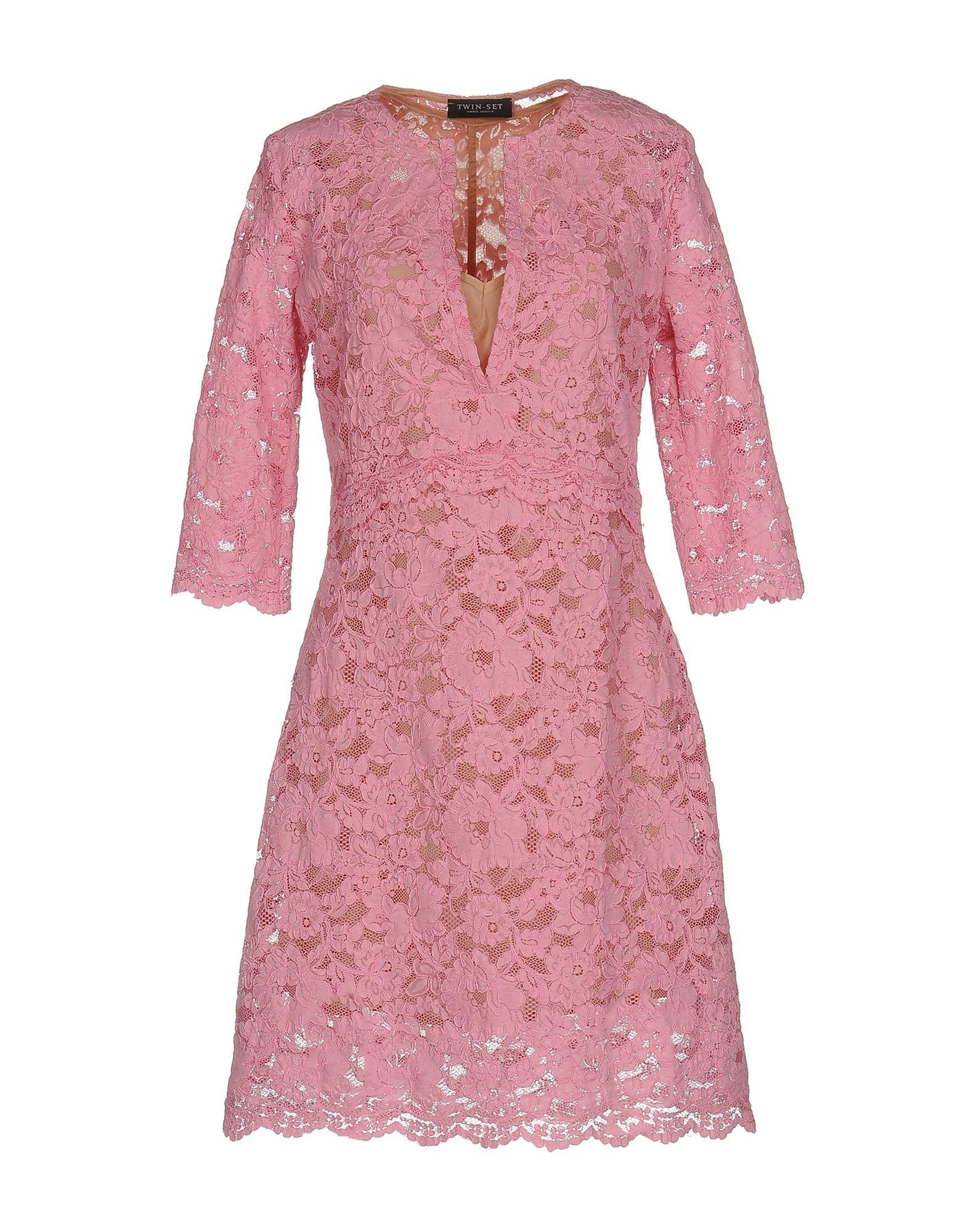 Twinset Pink Cotton Lace Dress