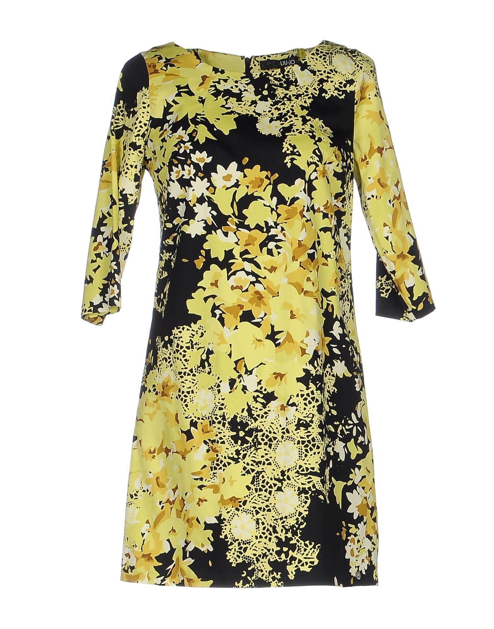 Liu Jo Yellow Print Cotton Short Dress