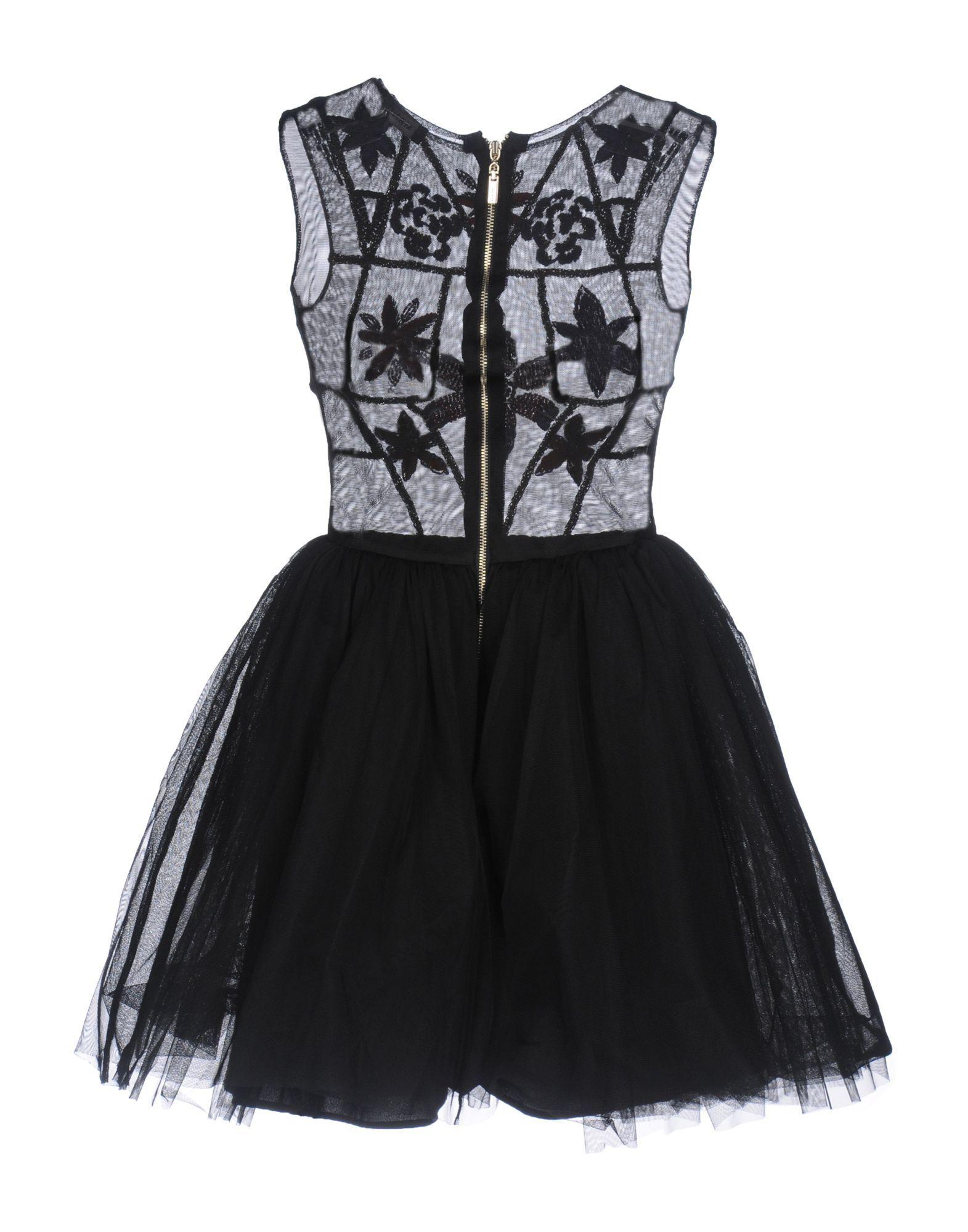 Mangano Black Tulle Short Dress