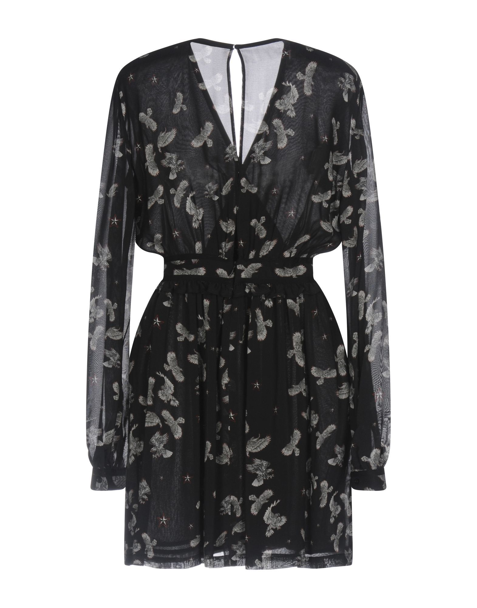 Just Cavalli Black Print Long Sleeve Short Dress