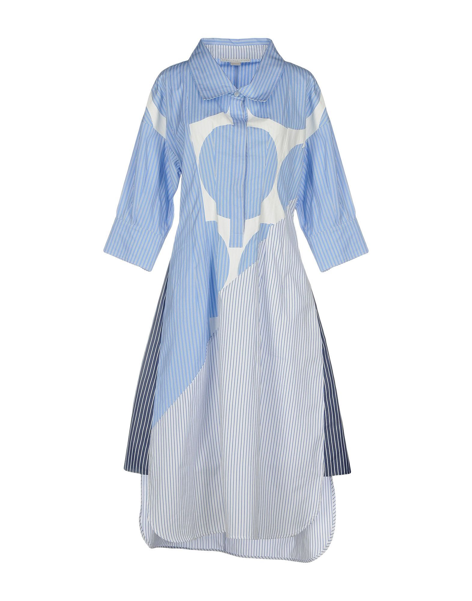 Stella McCartney Pastel Blue Print Cotton Shirt Dress