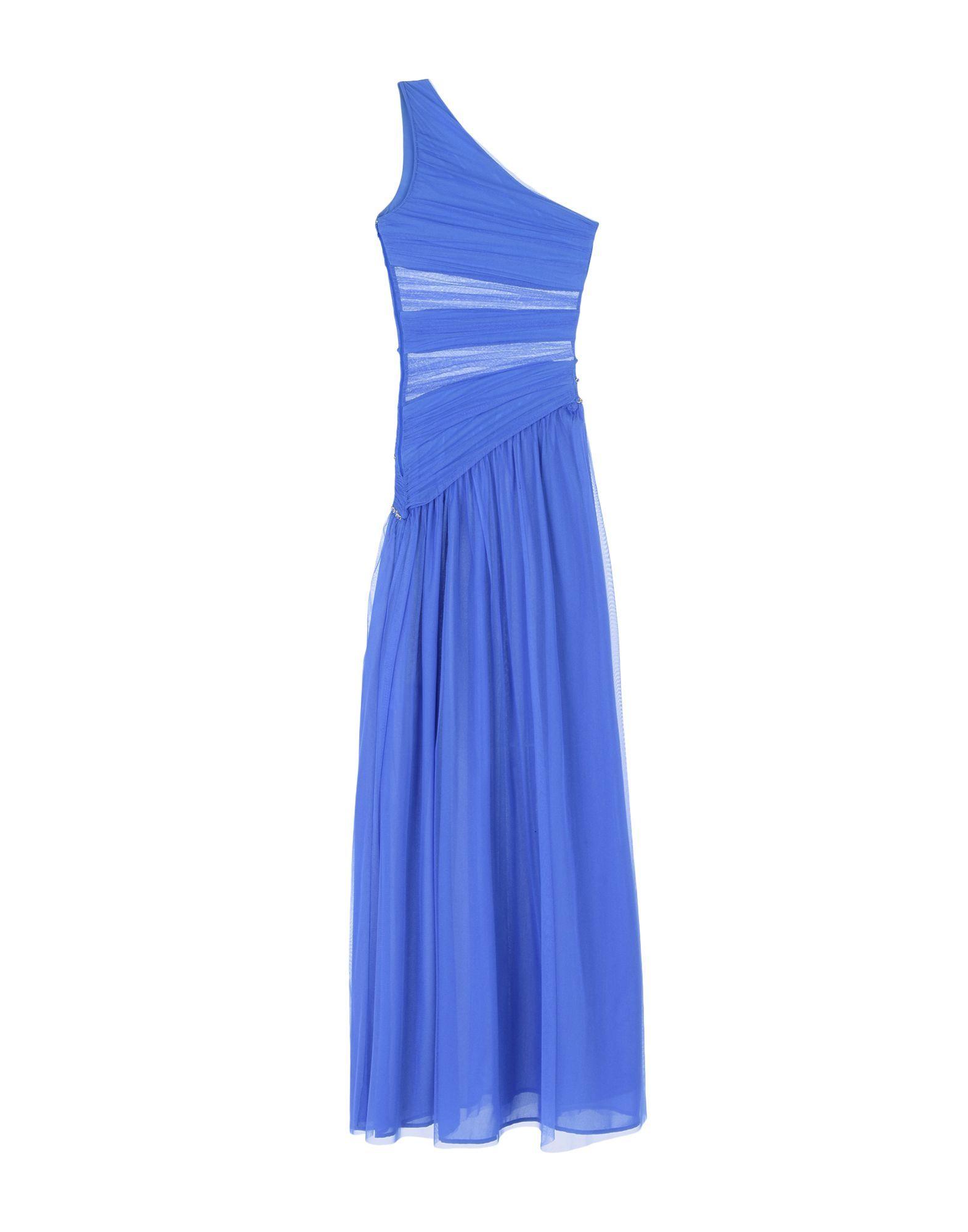 Elisabetta Franchi Blue One Shoulder Full Length Dress