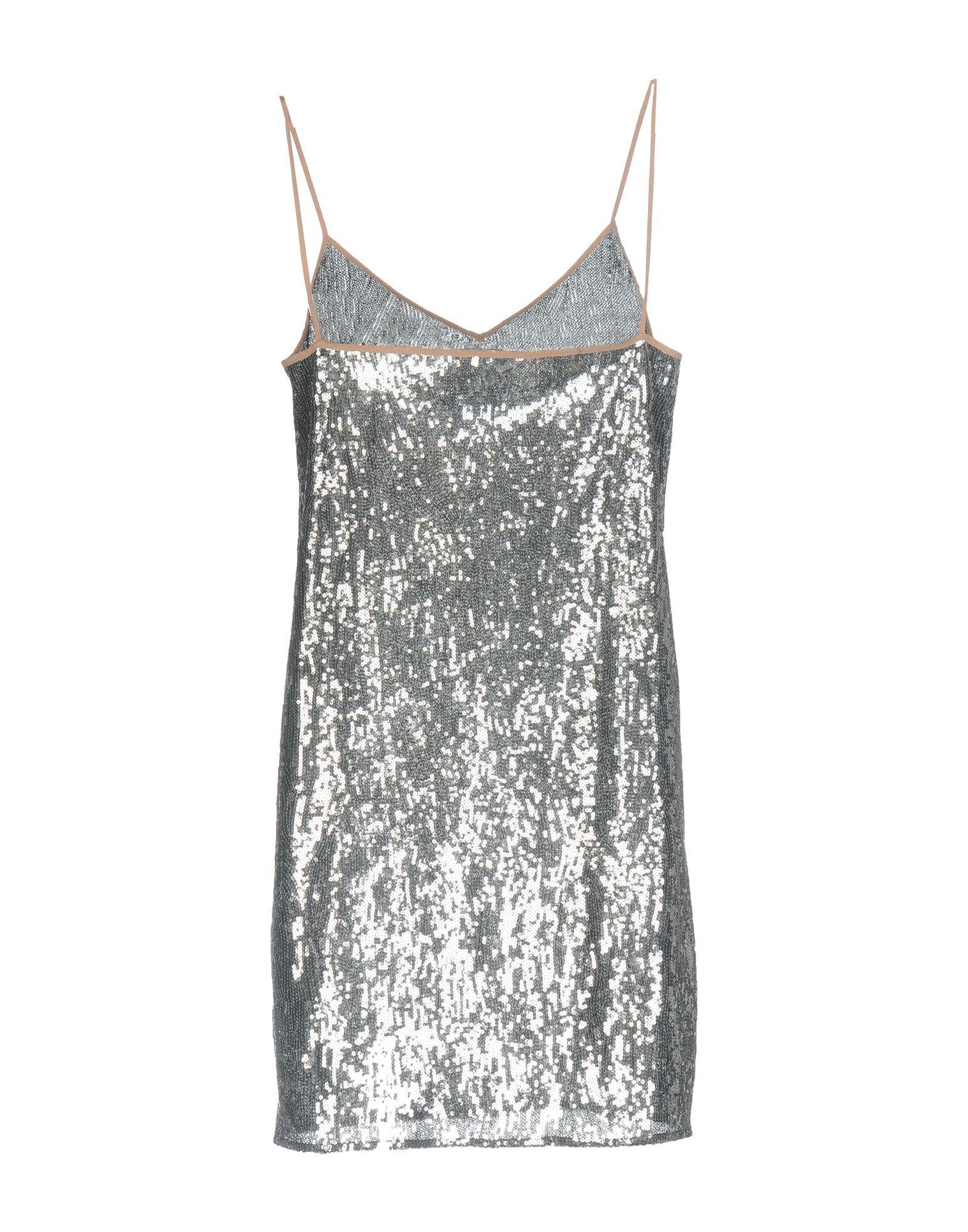 Marco De Vincenzo Grey Sequin Slip Dress