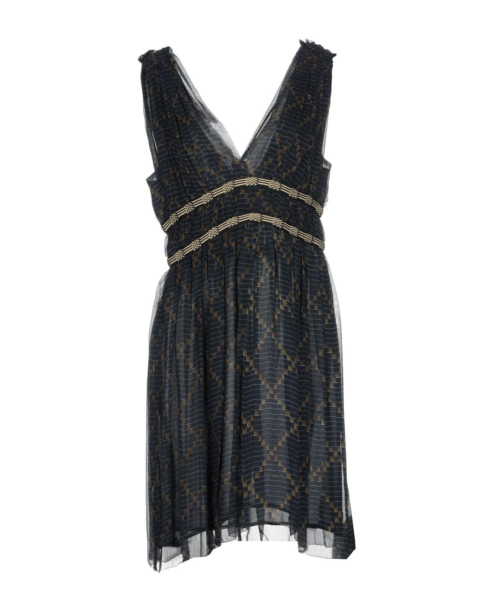 Isabel Marant Etoile Dark Blue Silk V Neckline Short Dress