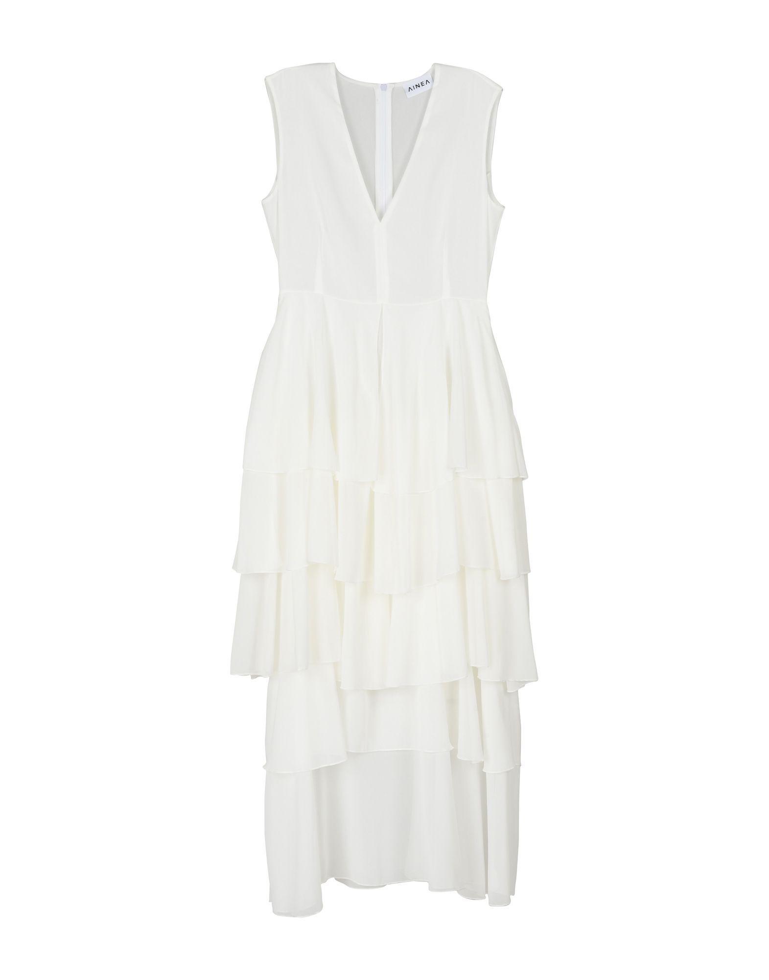 Ainea White Crepe Ruffle Dress