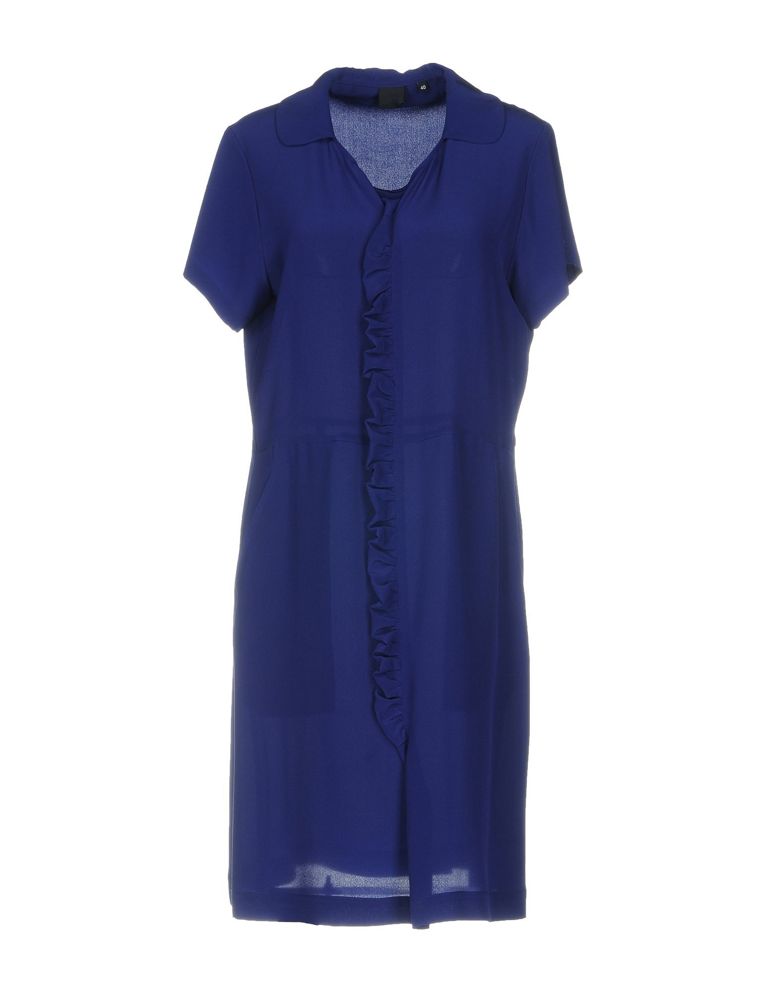Aspesi Bright Blue Silk Short Sleeve Dress