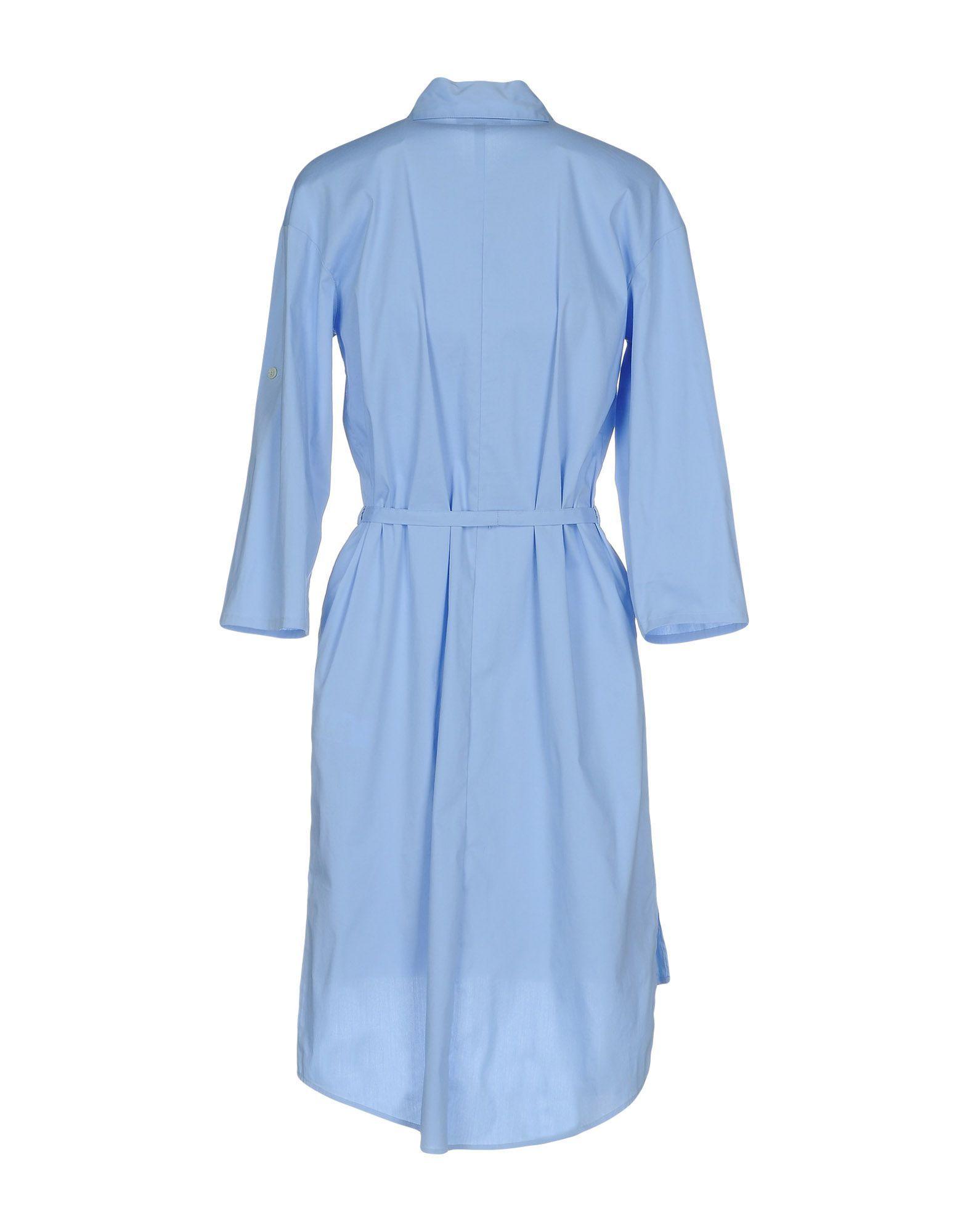 Patrizia Pepe Sky Blue Cotton Shirt Dress