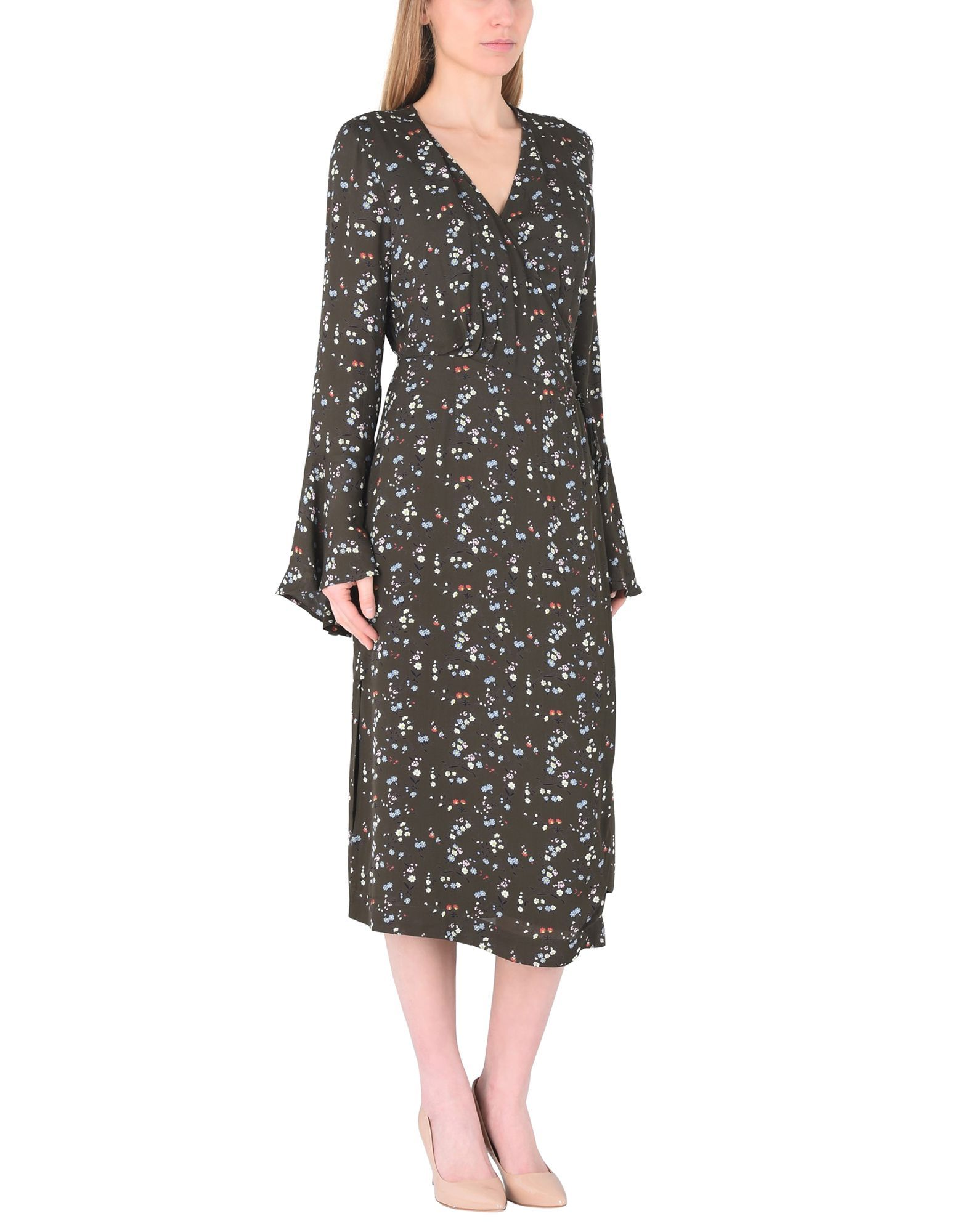 Essentiel Antwerp Military Green Print Long Sleeve Dress