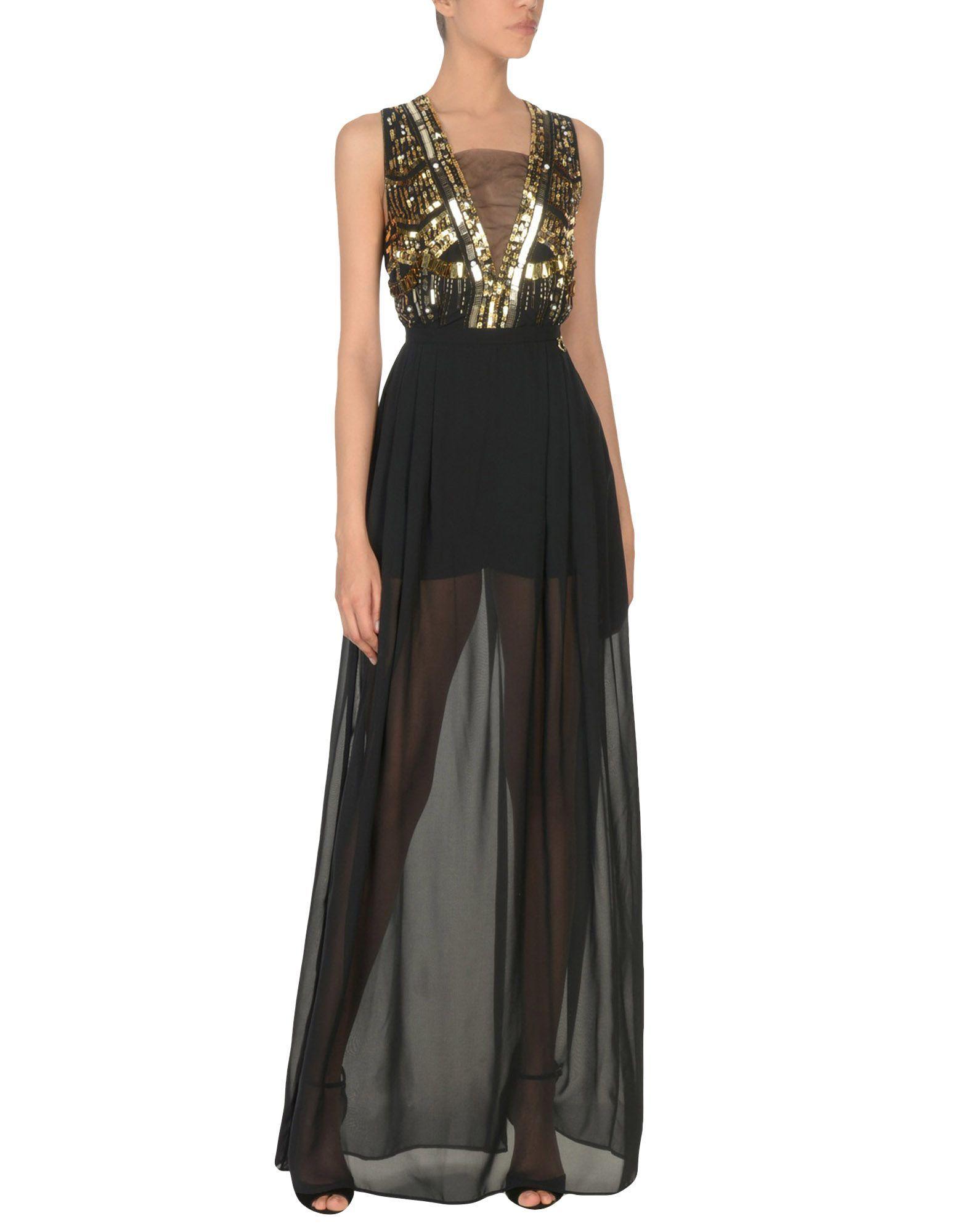 Mangano Black Chiffon Full Length Dress