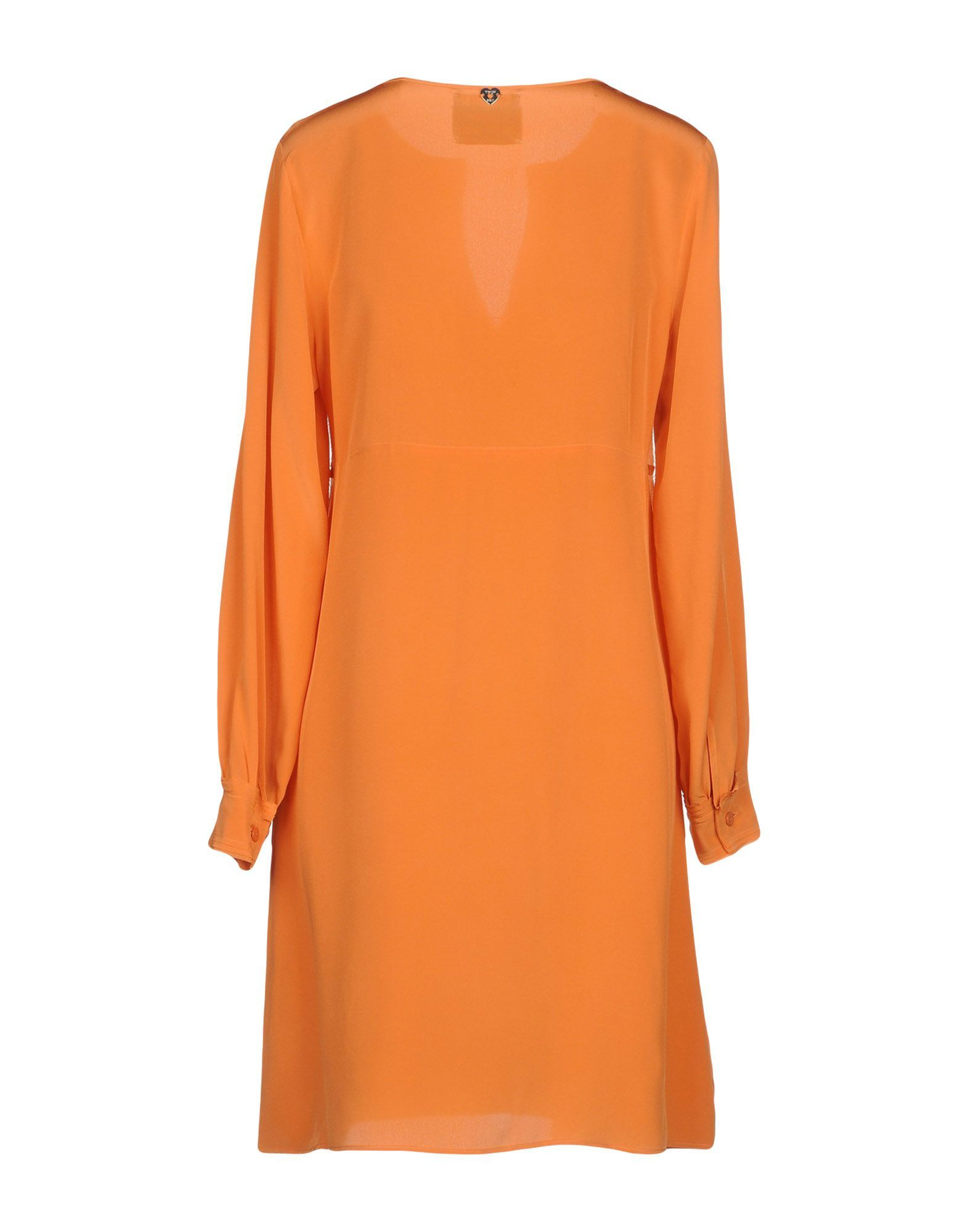 Twinset Orange Silk Long Sleeve Dress