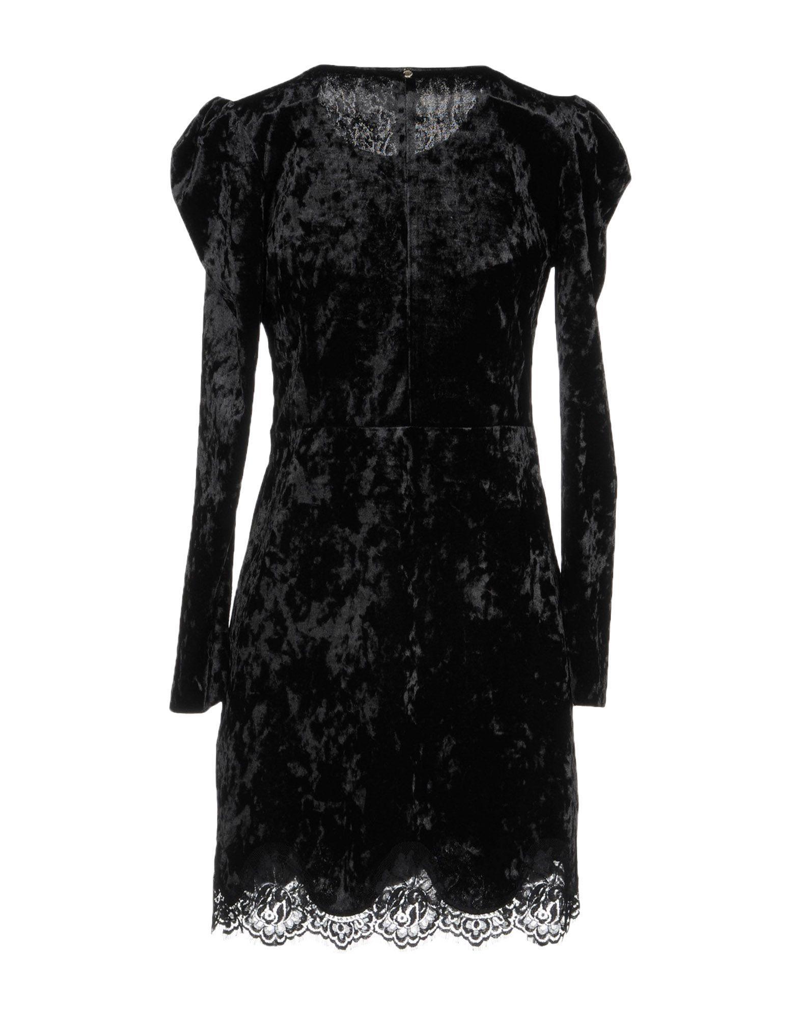 Annarita N Black Chenille And Lace Long Sleeve Dress