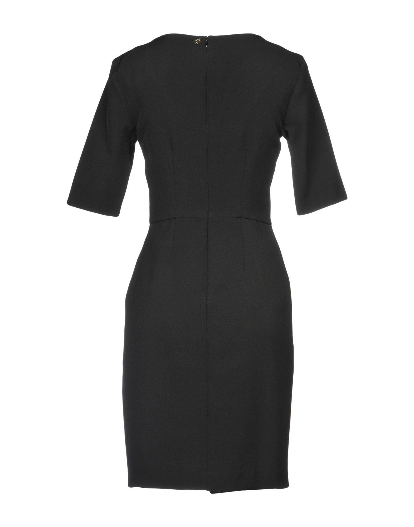 Blugirl Blumarine Black Crepe Short Sleeve Dress