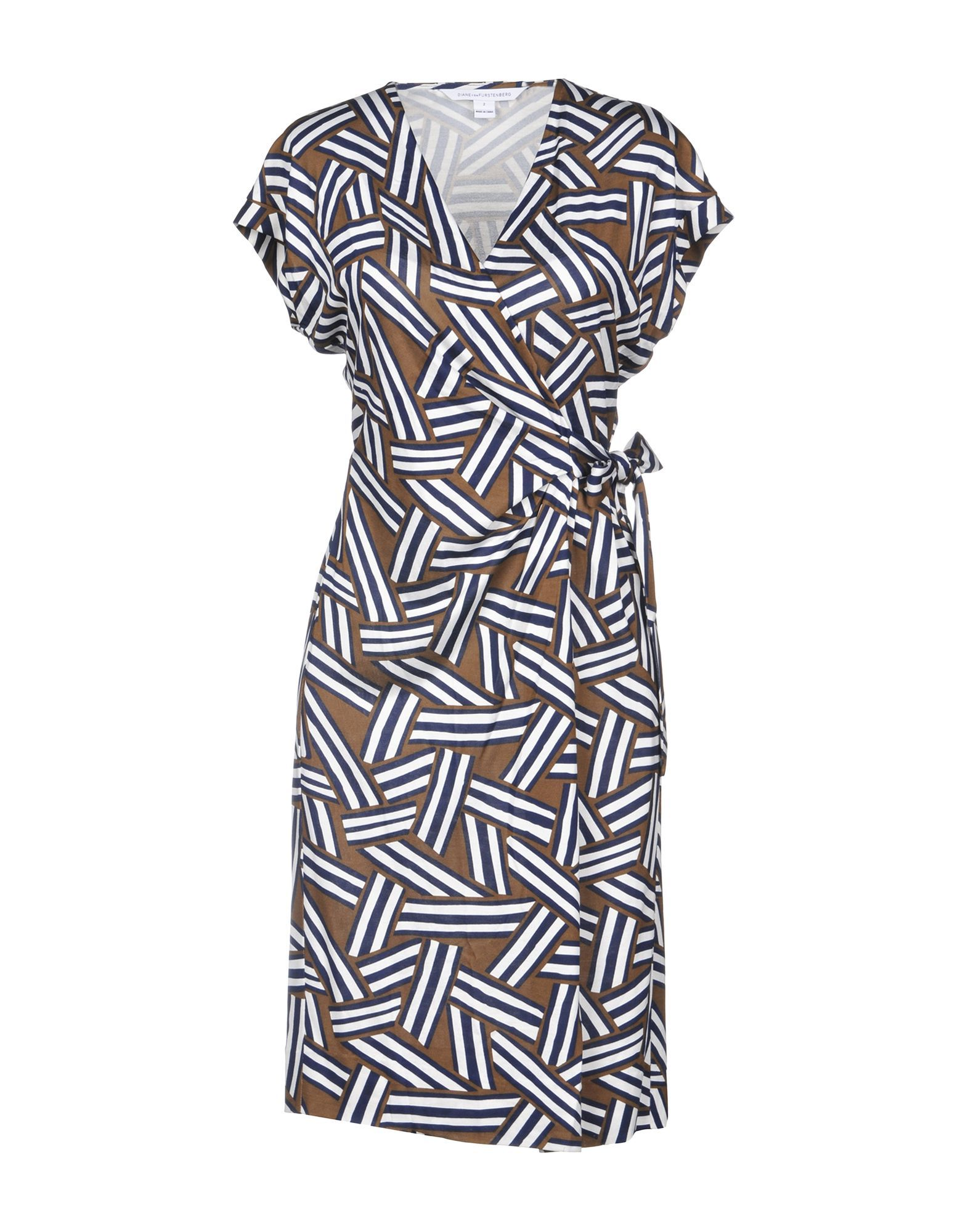Diane Von Furstenberg Dark Blue Print Silk Wrap Dress