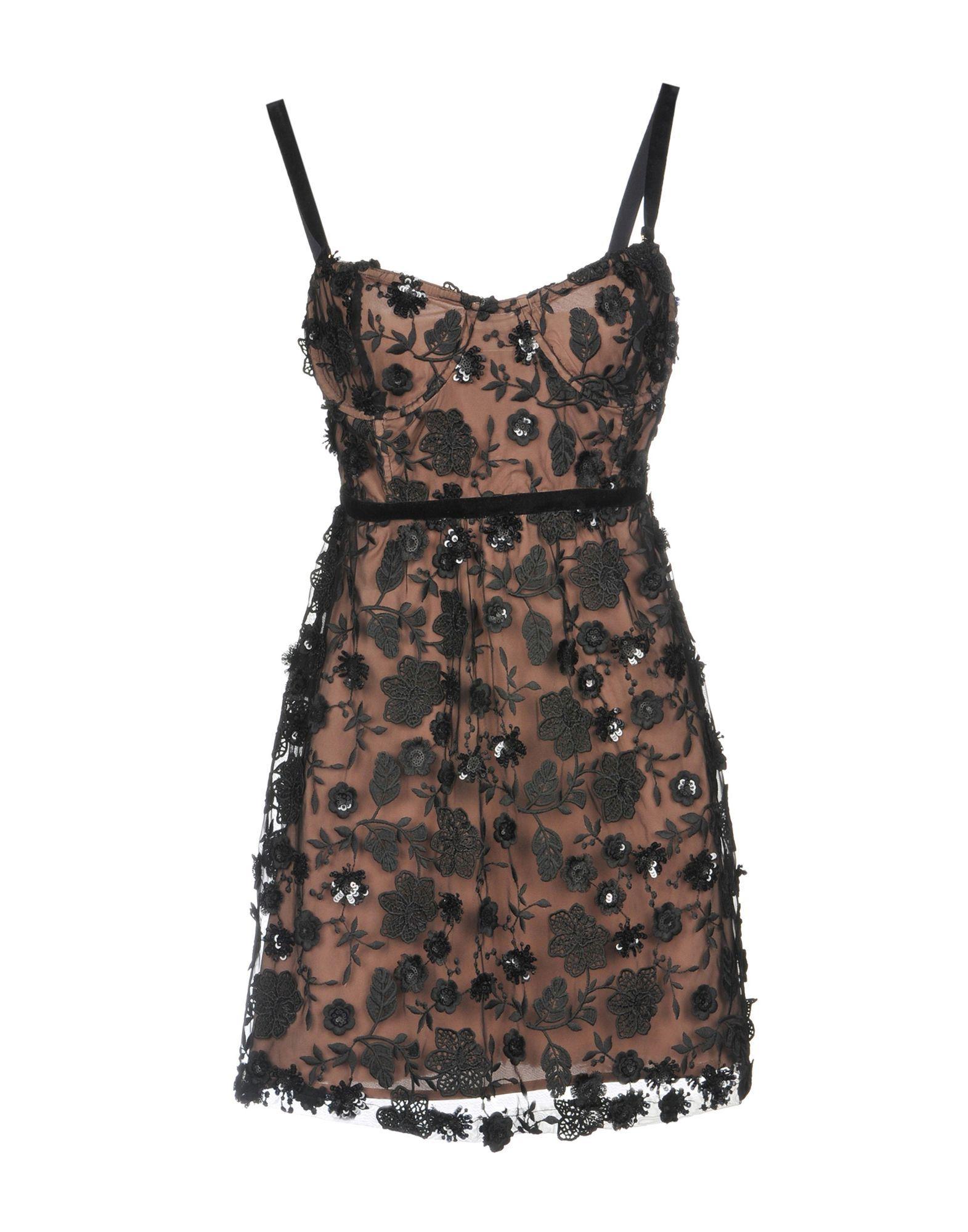 For Love & Lemons Black Embroidered Short Dress
