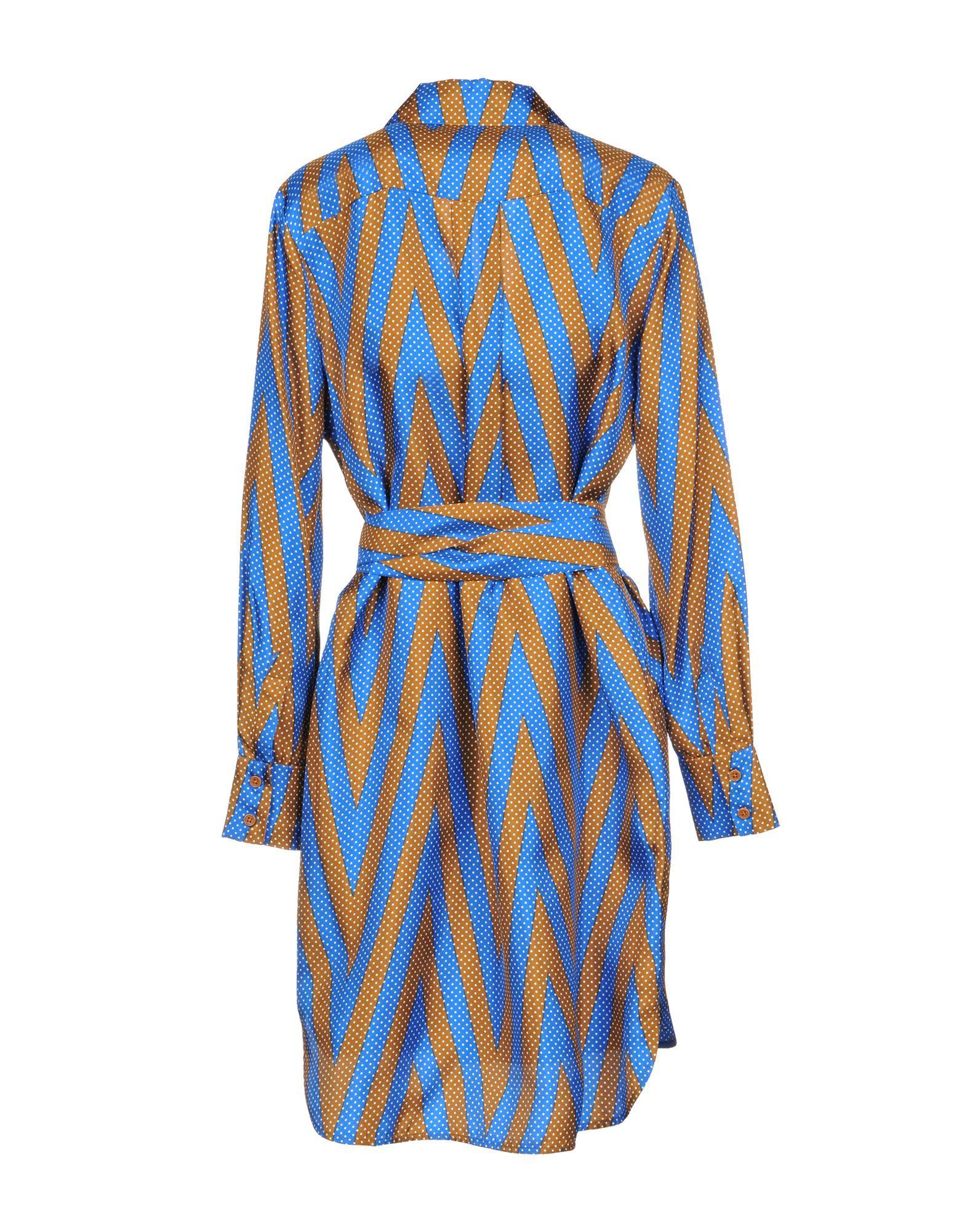 Diane Von Furstenberg Blue Stripe Silk Dress