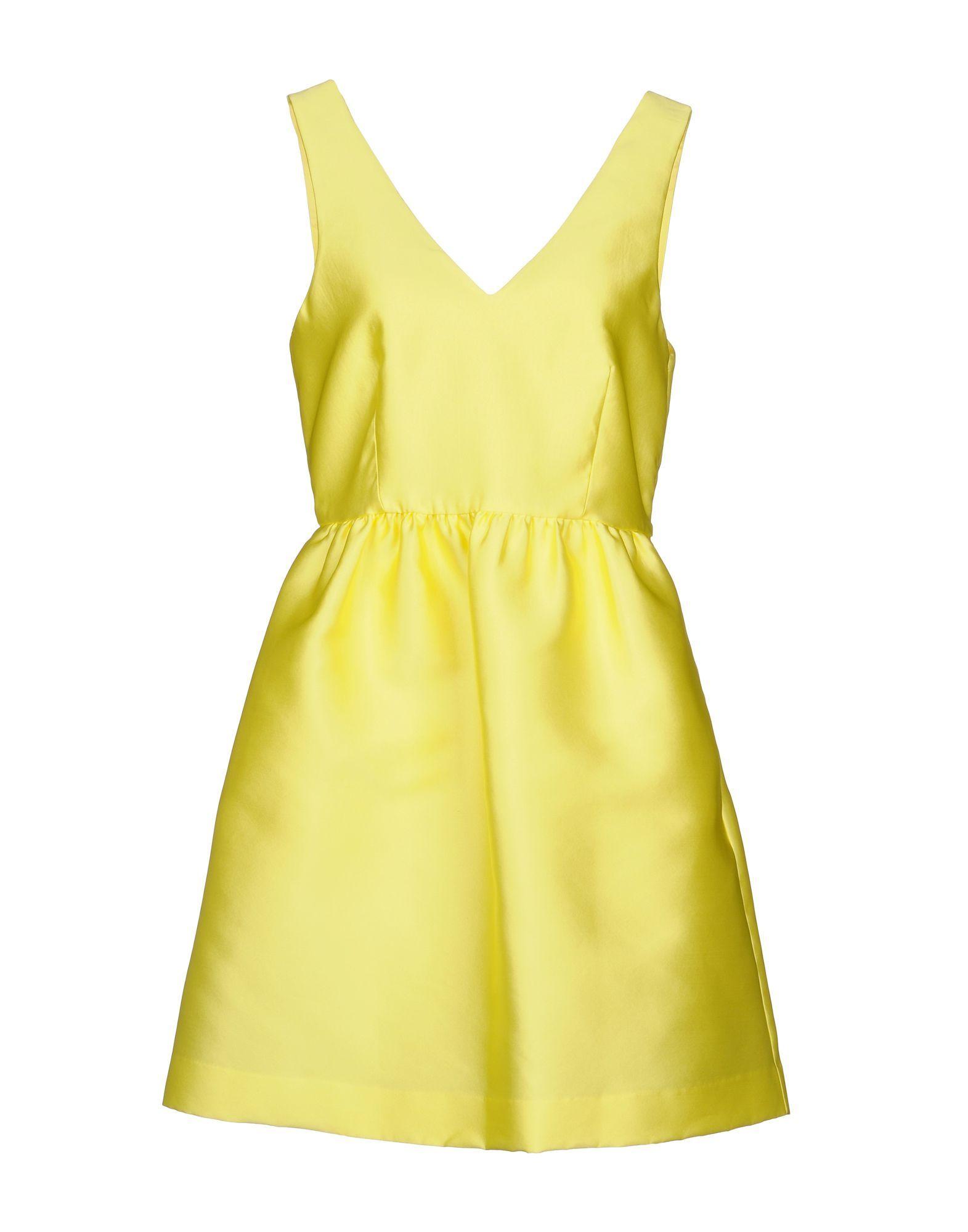 P.A.R.O.S.H. Yellow Satin Short Dress