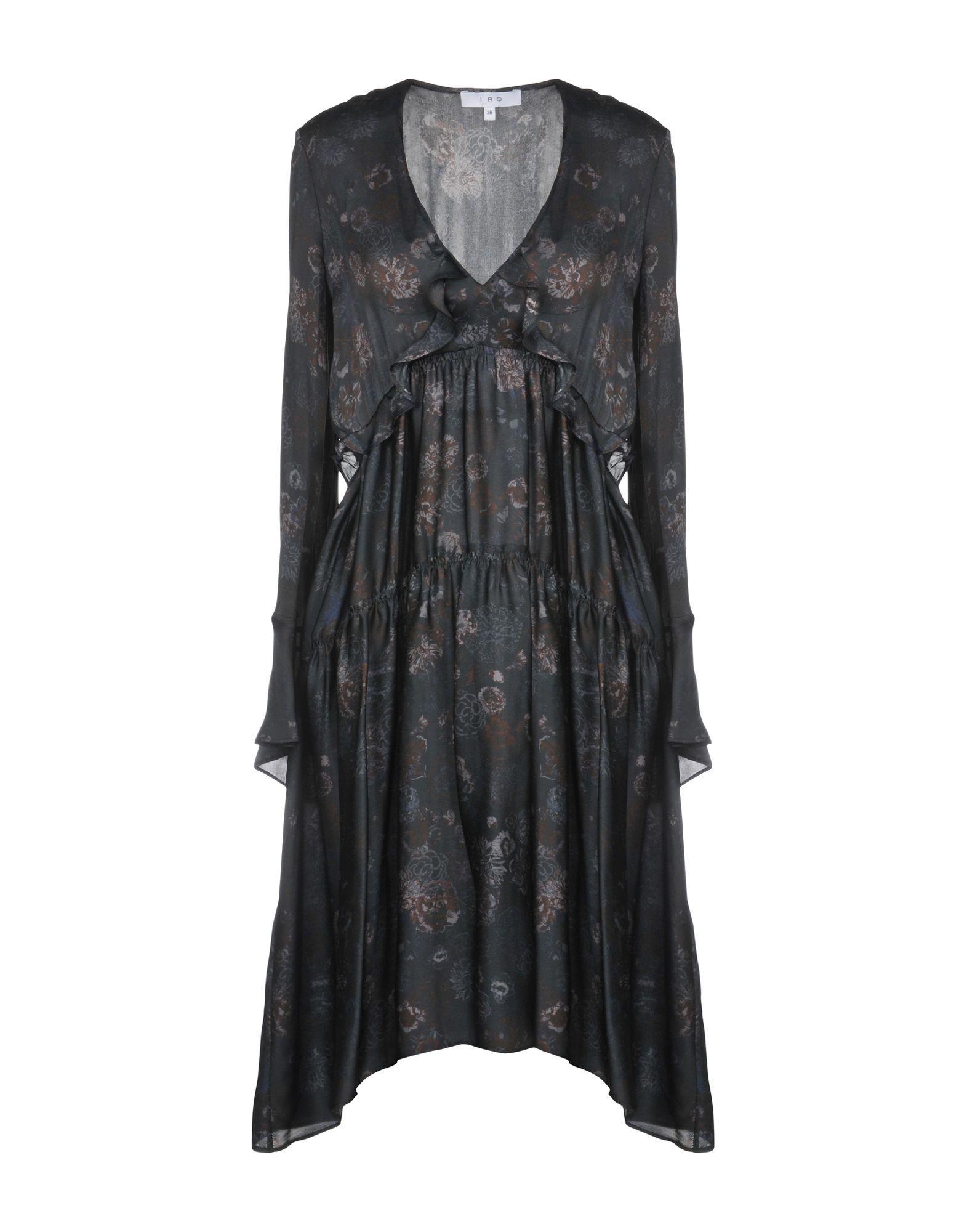 Iro Steel Grey Print Silk Long Sleeve Dress