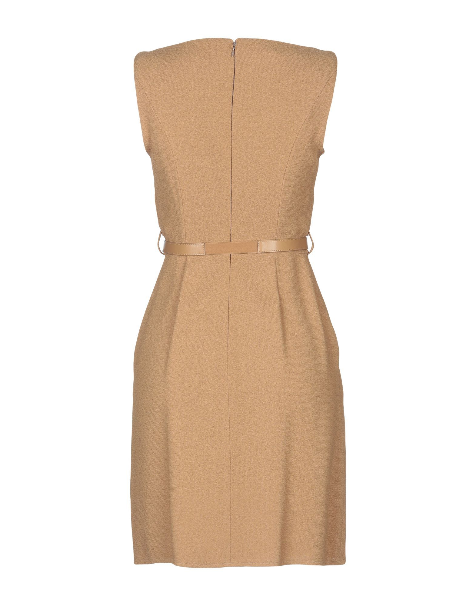 Elisabetta Franchi Camel Crepe Belted Dress