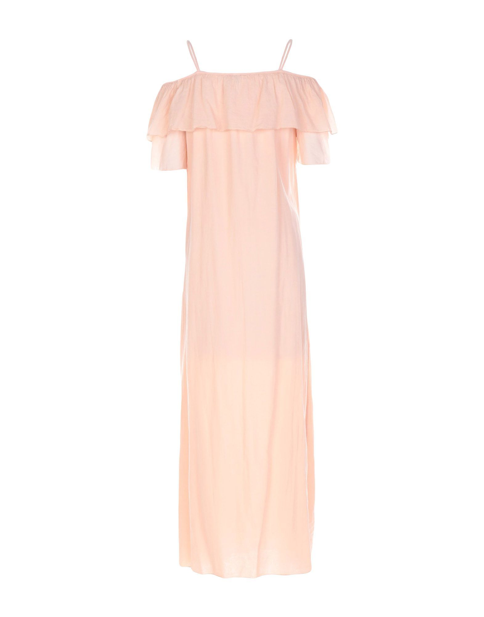European Culture Apricot Cotton Full Length Dress