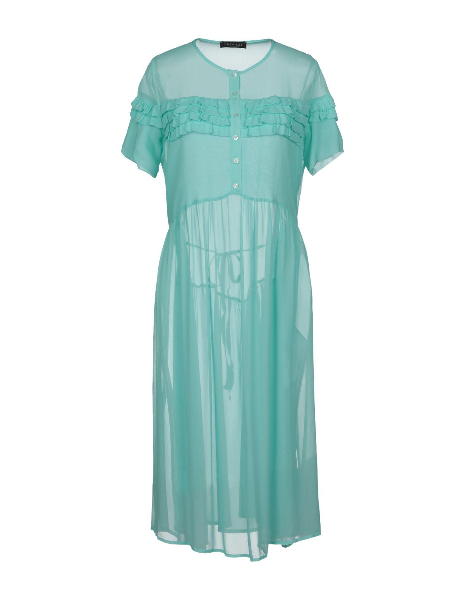 Twinset Turquoise Crepe Shirt Dress