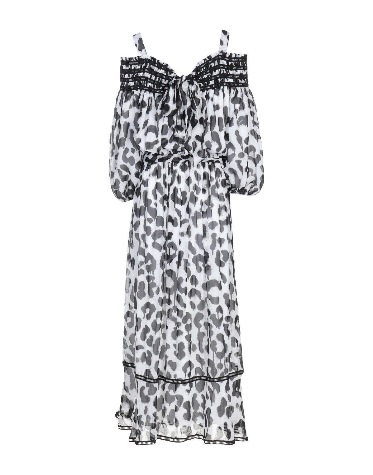 Boutique Moschino White Print Silk Dress