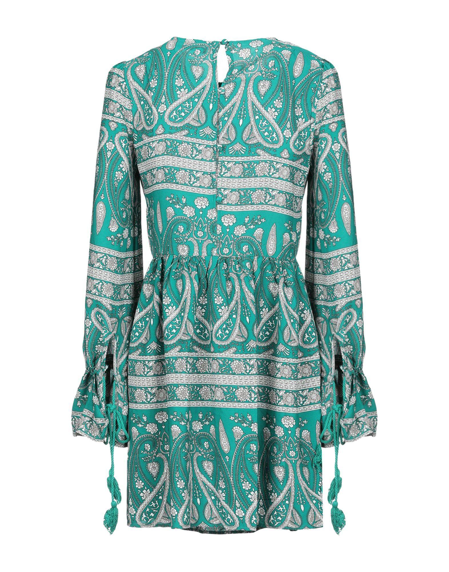Glamorous Emerald Green Print Long Sleeve Dress