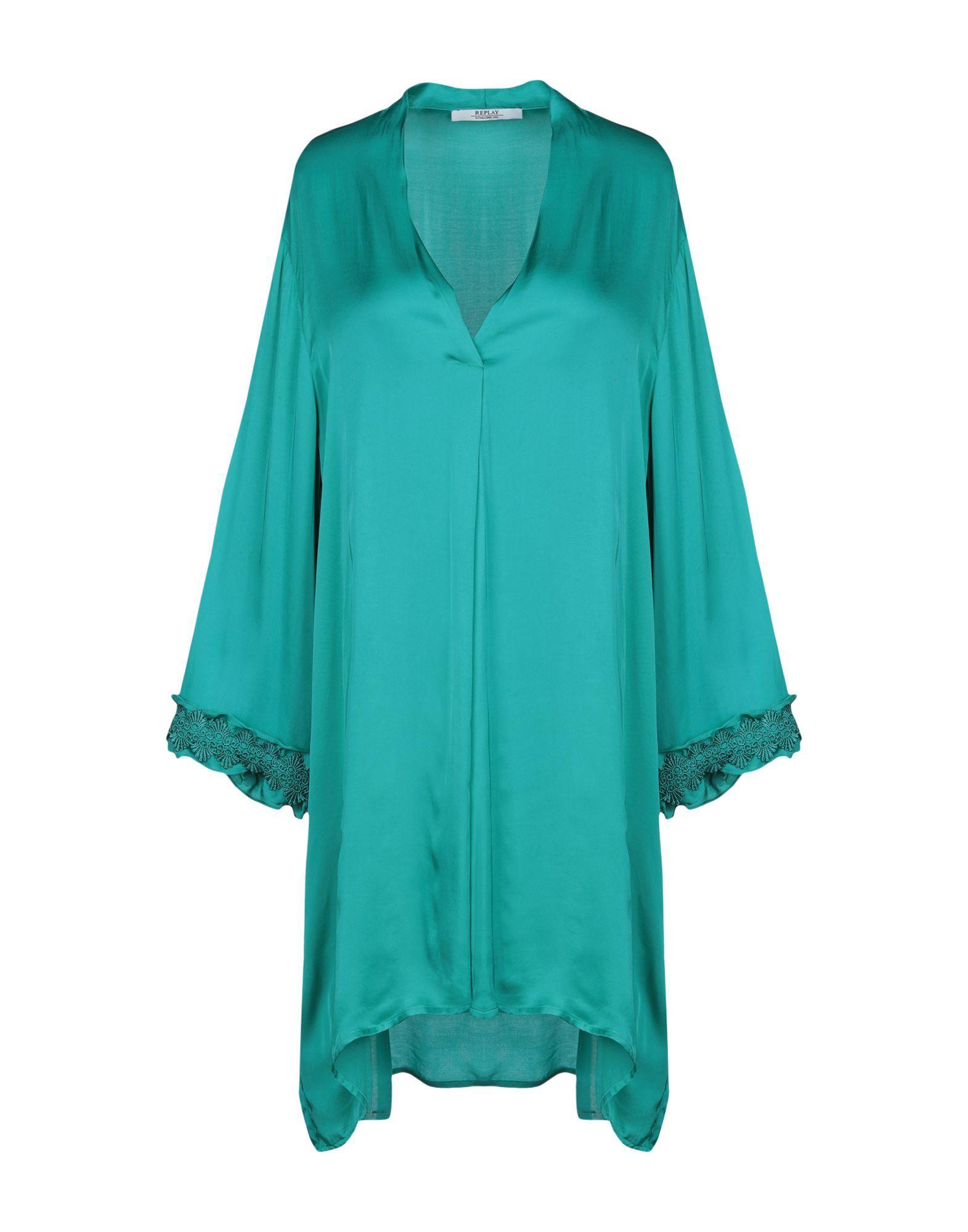 Replay Deep Jade Satin And Lace Long Sleeve Dress