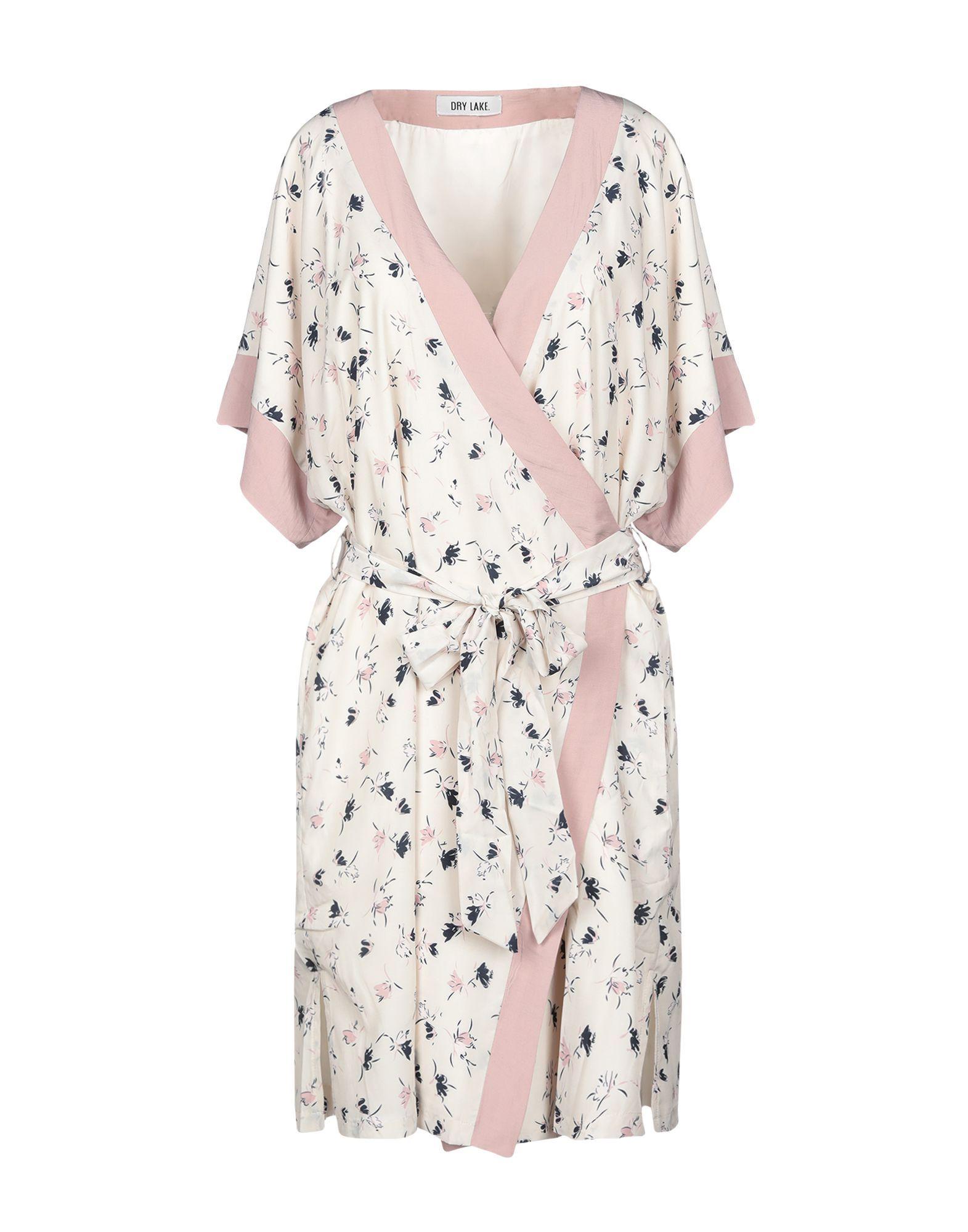 Dry Lake. Beige Floral Print Wrap Dress