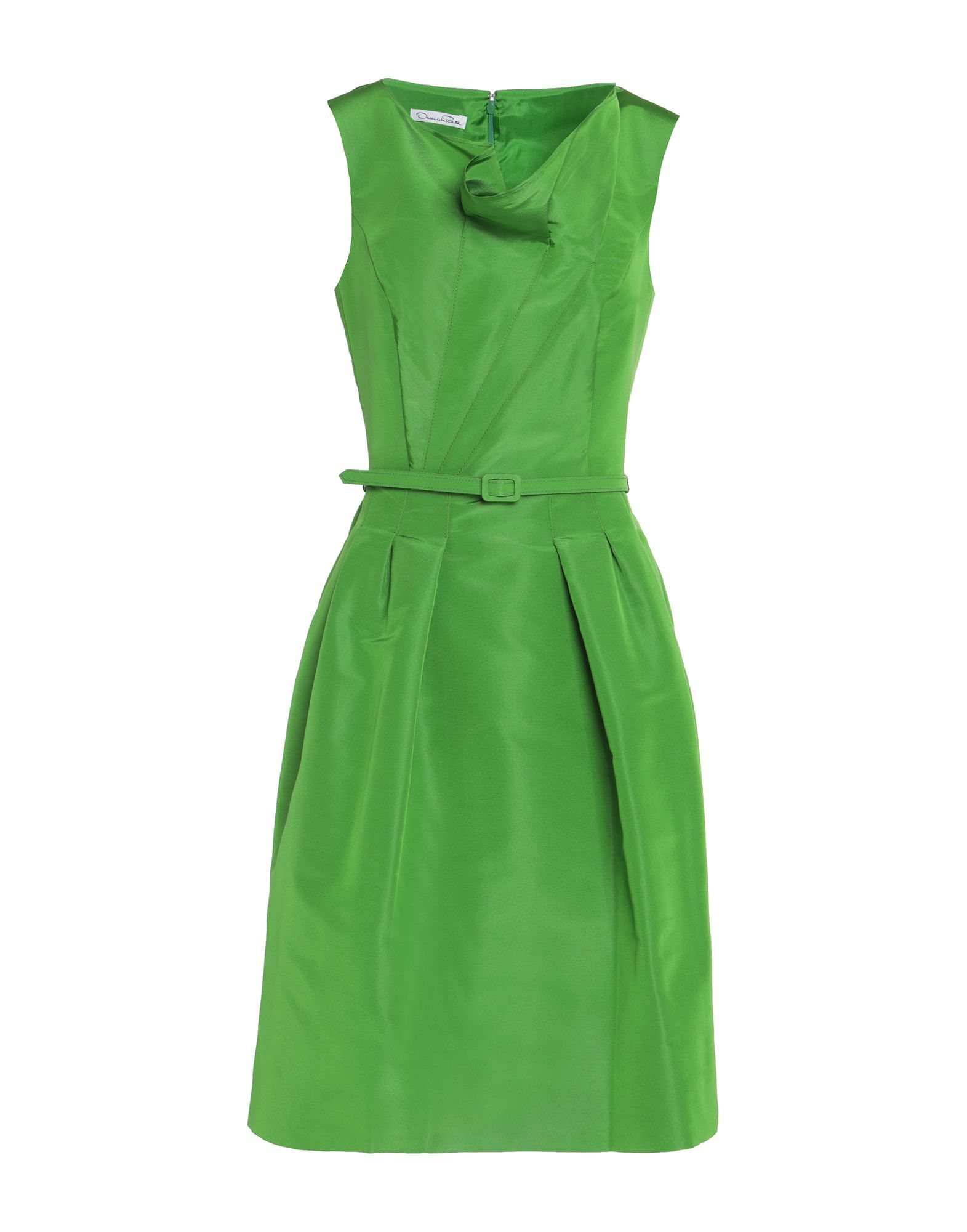 Oscar De La Renta Green Silk Knee-Length Dress