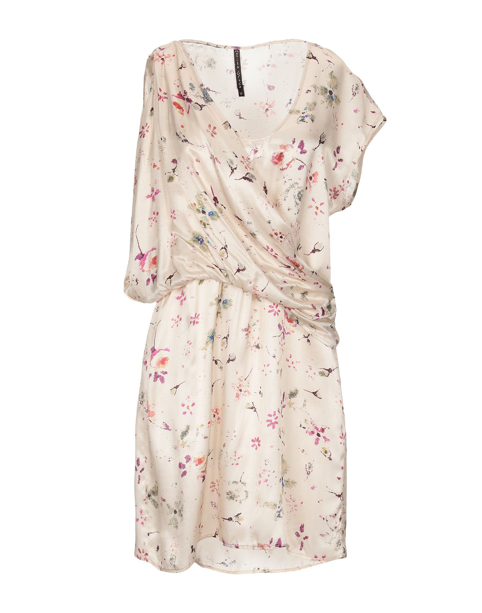 Manila Grace Ivory Print Satin Dress