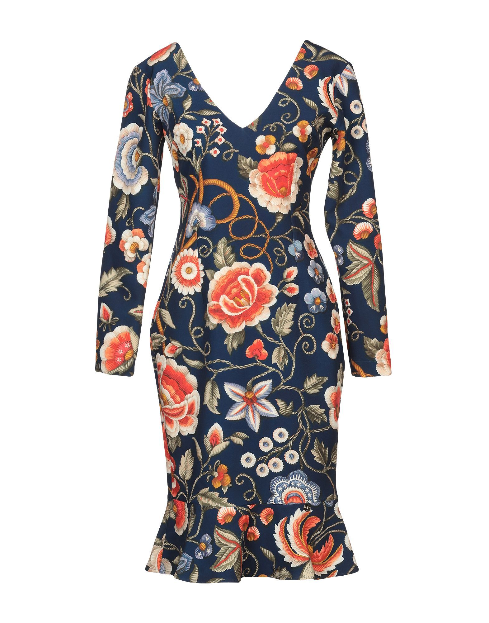 Blugirl Blumarine Dark Blue Print Long Sleeve Dress