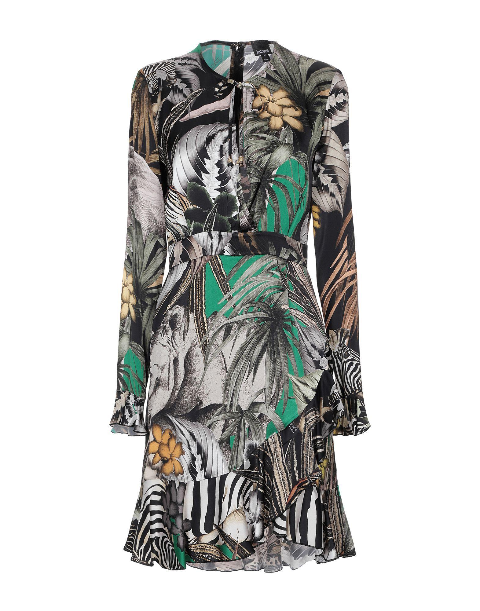 Just Cavalli Military Green Print Long Sleeve Dress