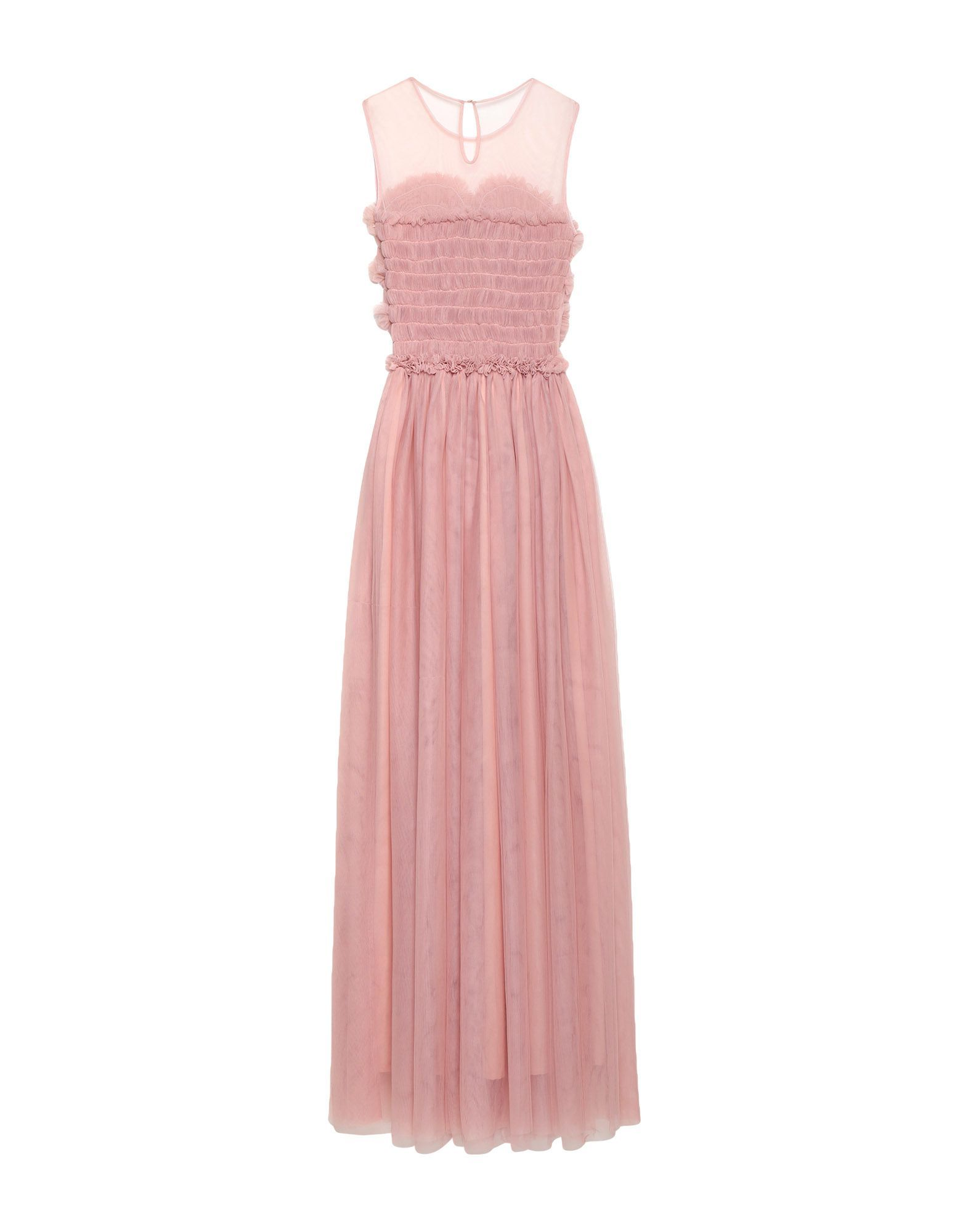 P.A.R.O.S.H. Pastel Pink Tulle And Ruffles Full Length Dress