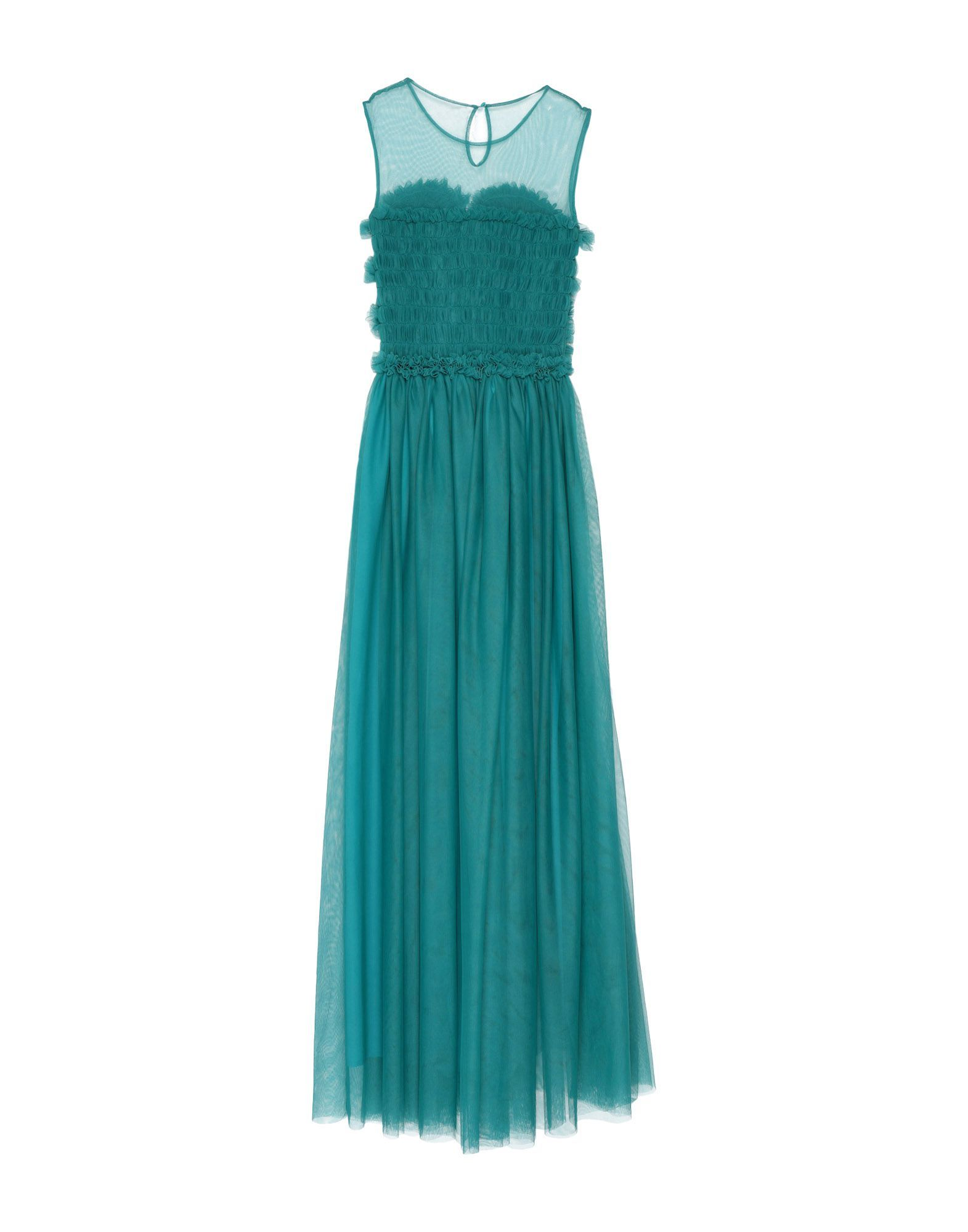 P.A.R.O.S.H. Deep Jade Tulle Full Length Dress