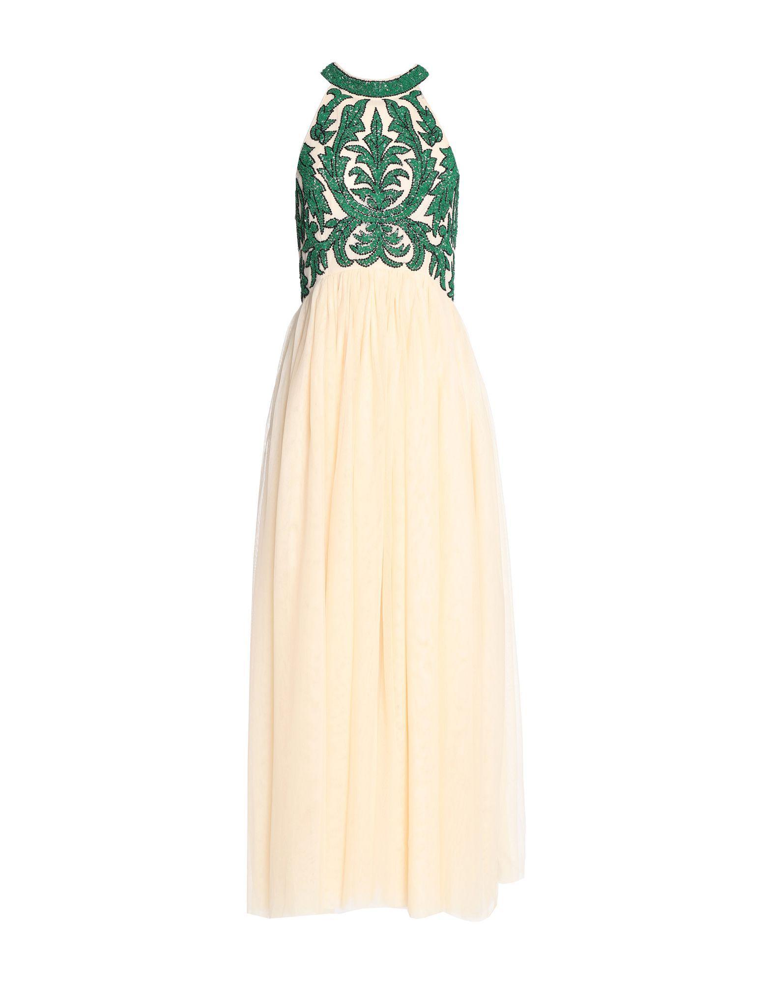 Ganni Beige Crepe With Sequins Full Length Dress