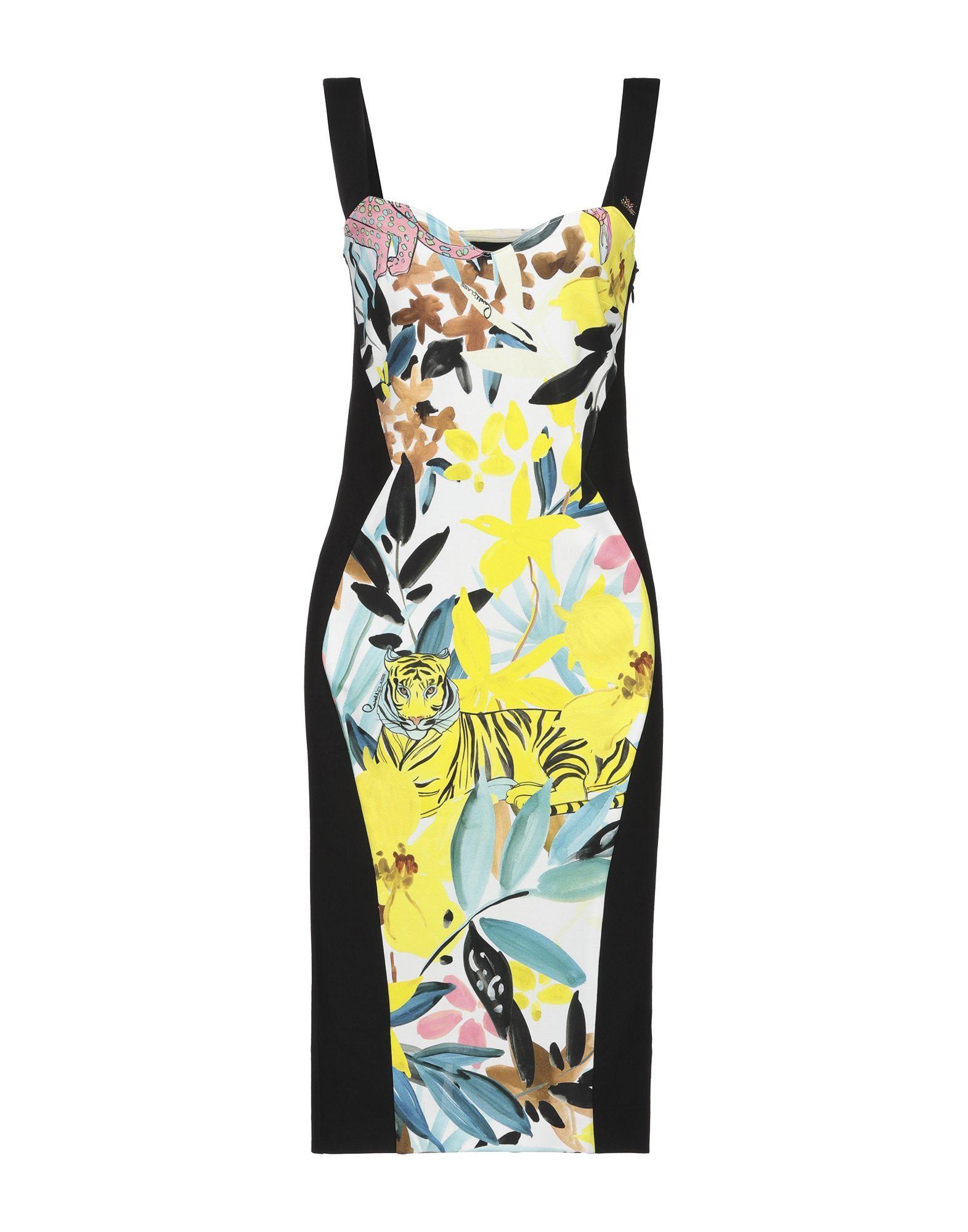 Cavalli Class Yellow Print Dress